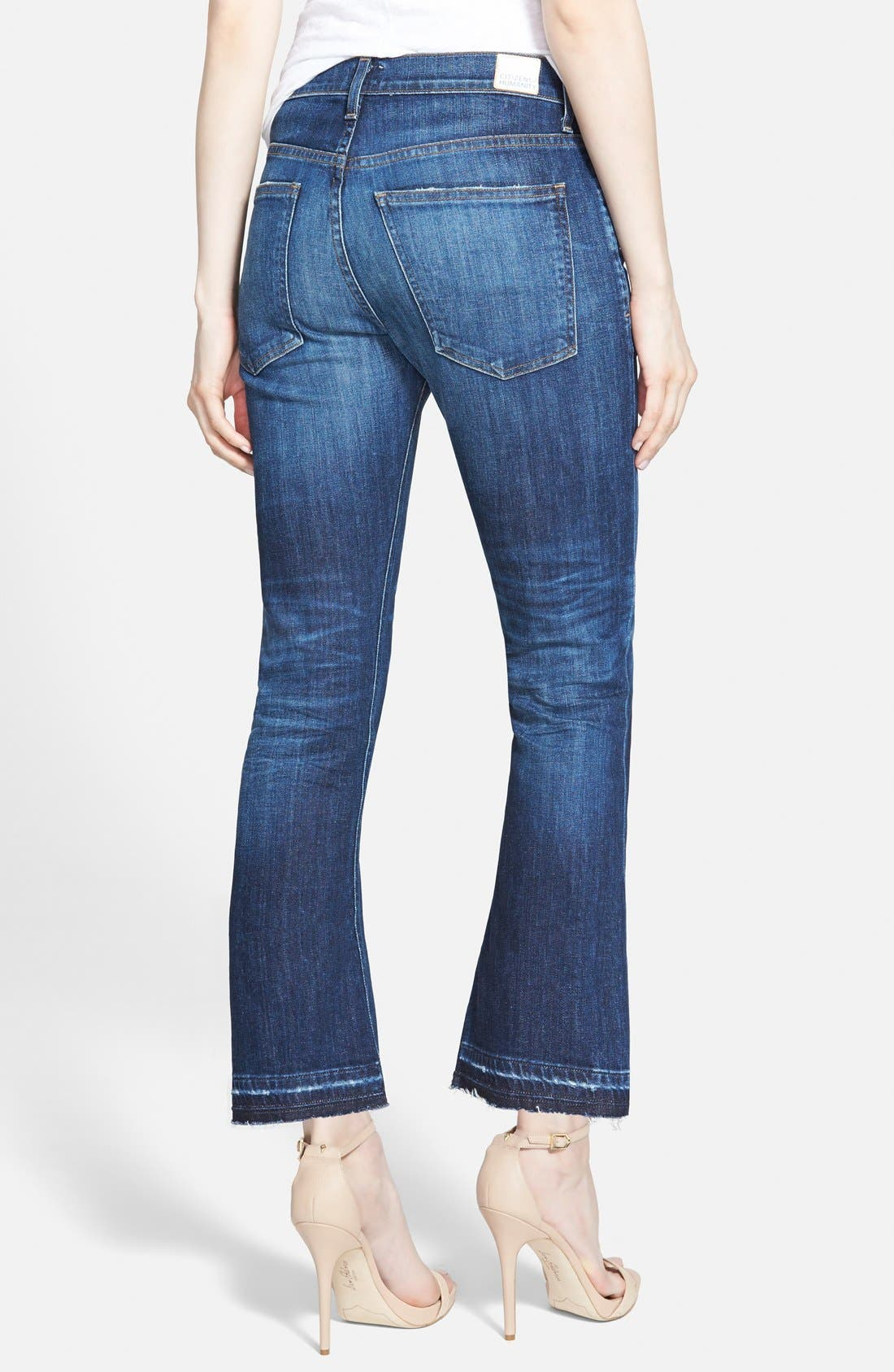 'Drew' Crop Flare Jeans,                             Alternate thumbnail 3, color,                             WATERFRONT