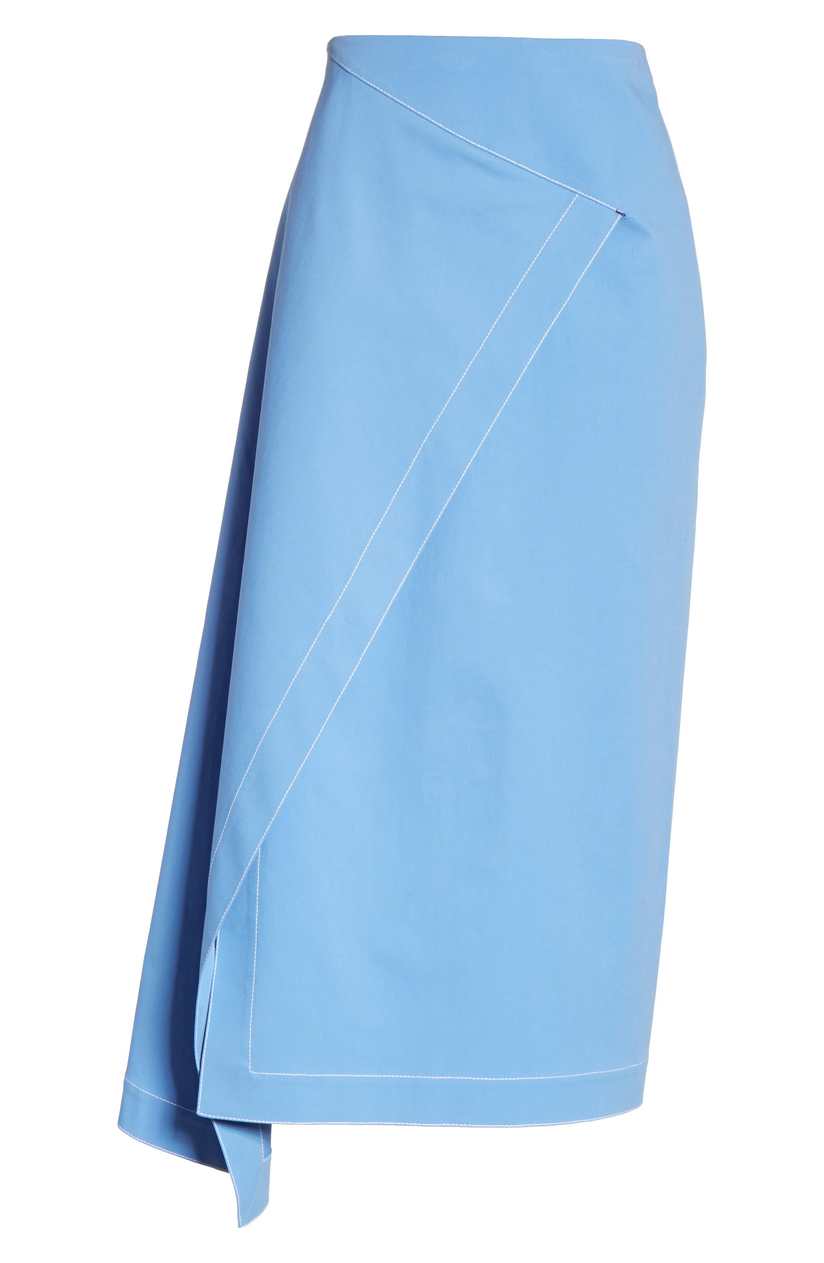 Asymmetrical Stretch Cotton Skirt,                             Alternate thumbnail 6, color,                             450