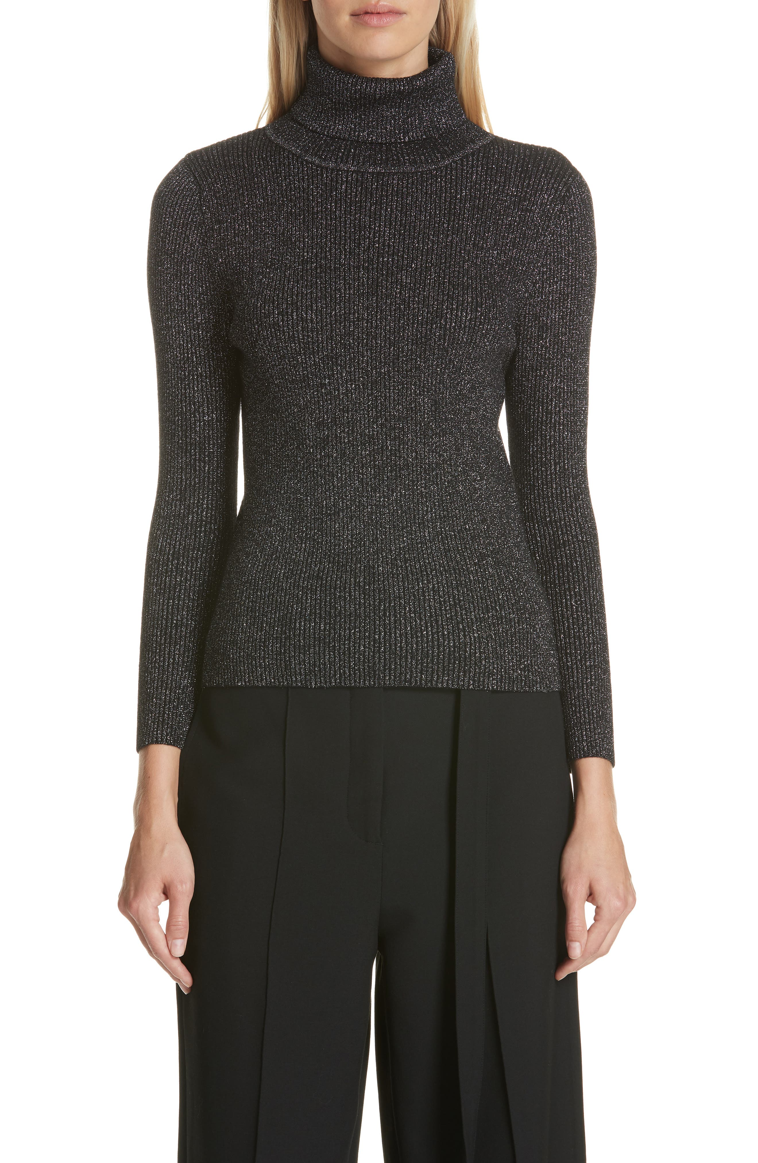 Metallic Ribbed Turtleneck Sweater,                         Main,                         color, BLACK/ SILVER