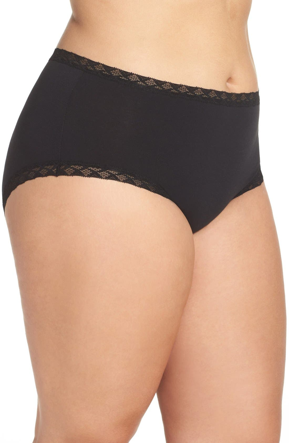 Bliss Cotton Full Brief,                             Alternate thumbnail 7, color,                             BLACK