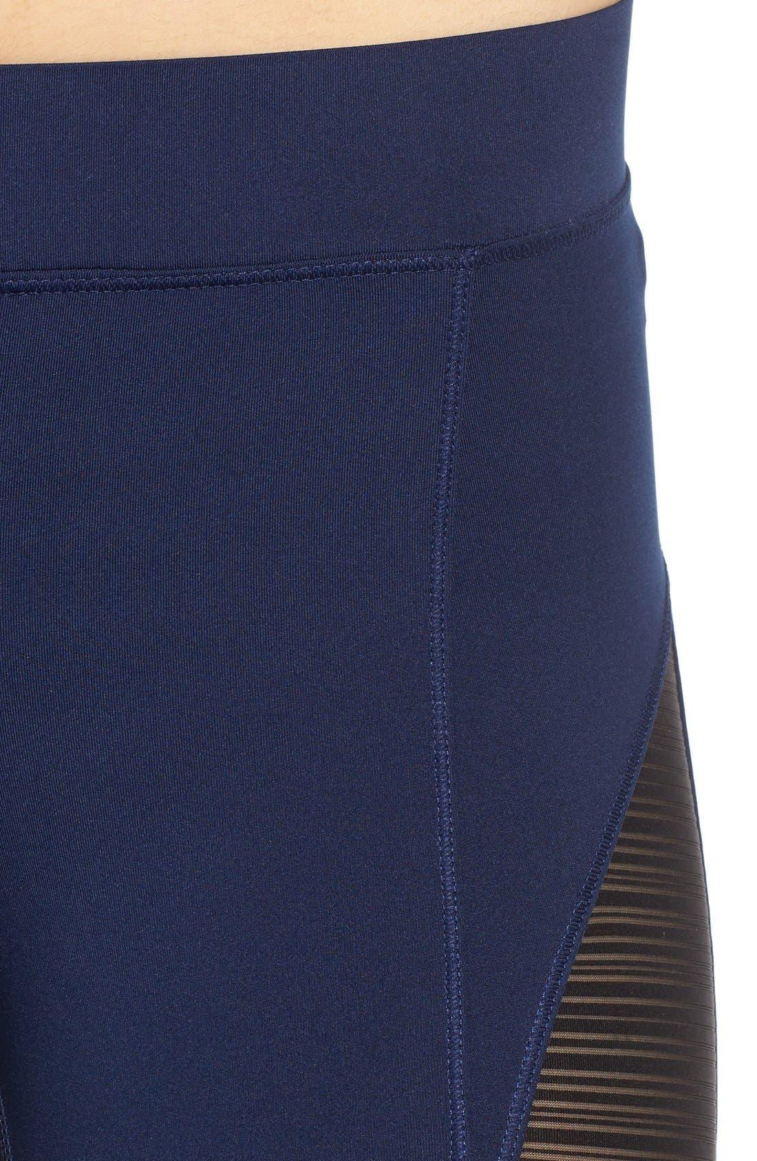 Linear Mesh V-Waist Capri Leggings,                             Alternate thumbnail 4, color,                             450