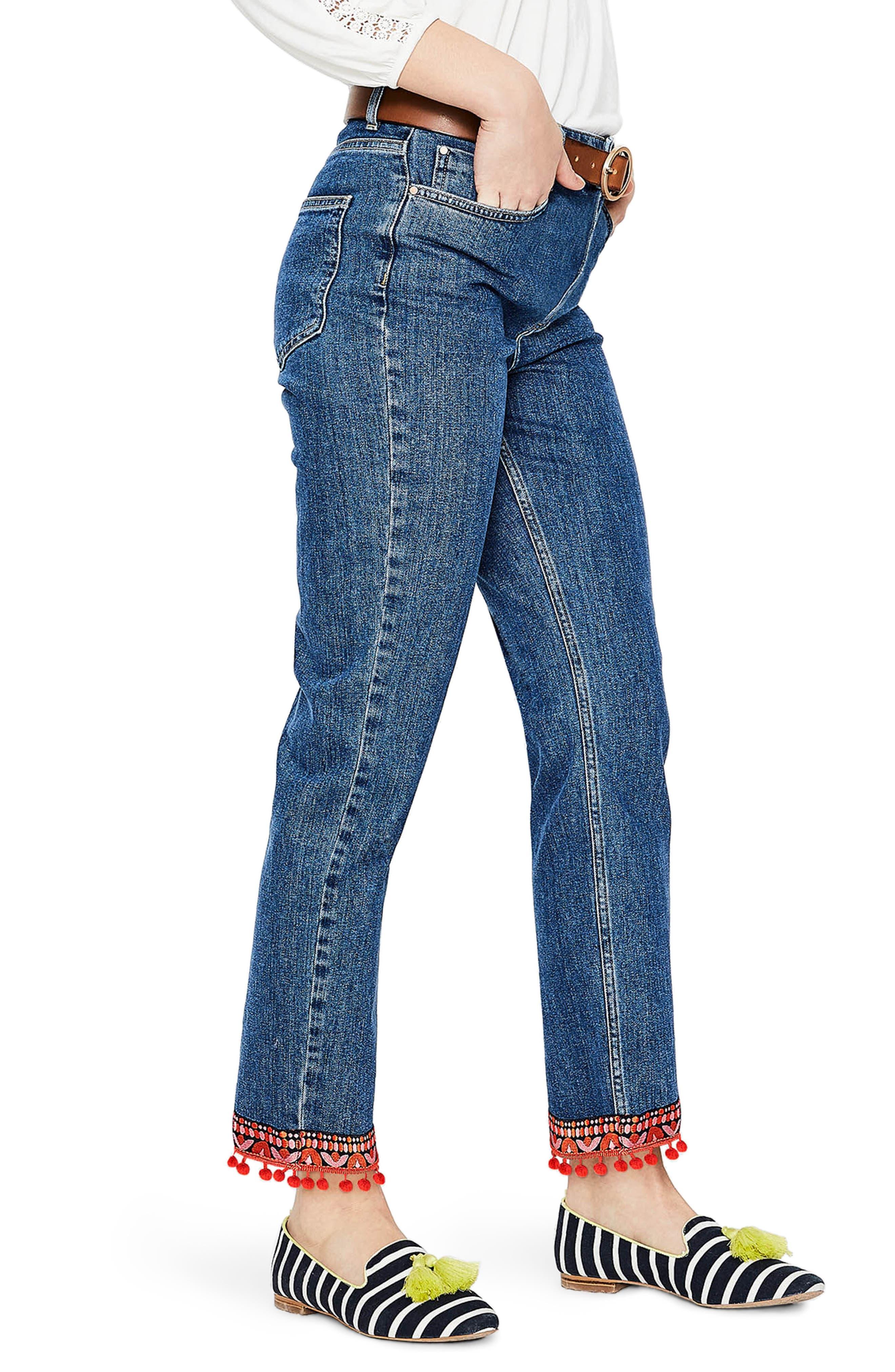 BODEN,                             Cambridge Embellished Ankle Skimmer Jeans,                             Alternate thumbnail 3, color,                             469