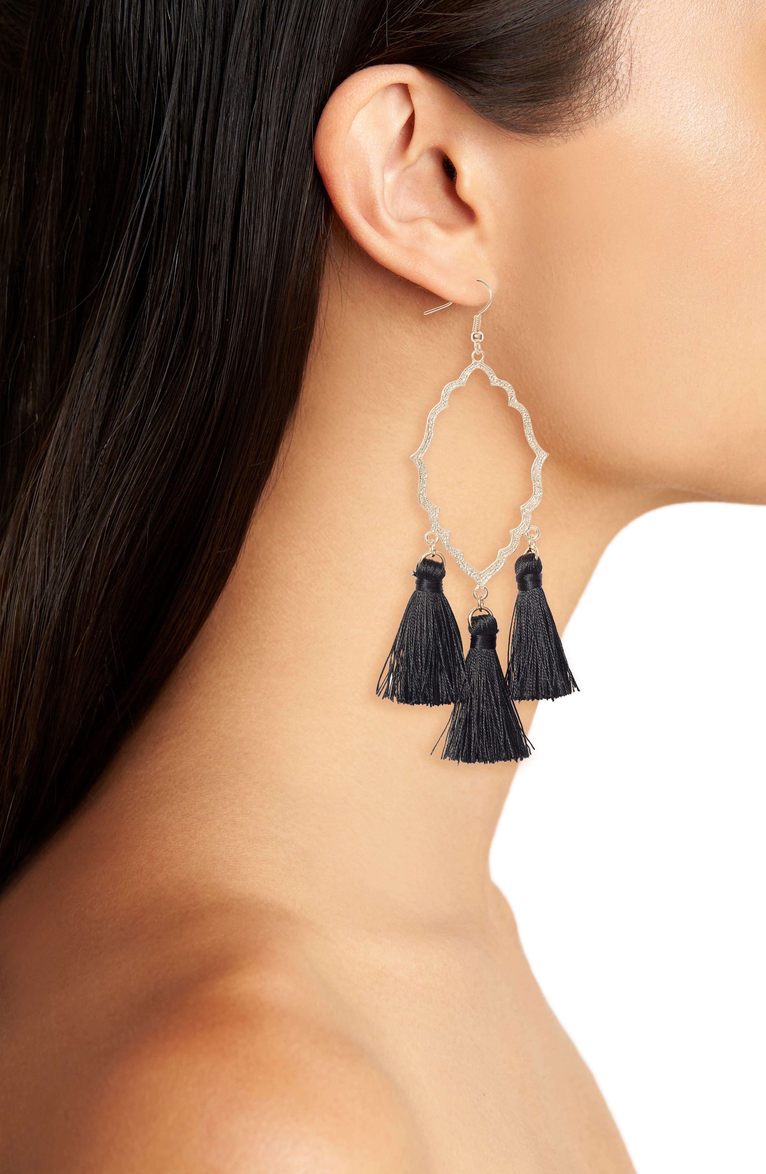 Medallion Tassel Earrings,                             Alternate thumbnail 2, color,                             001