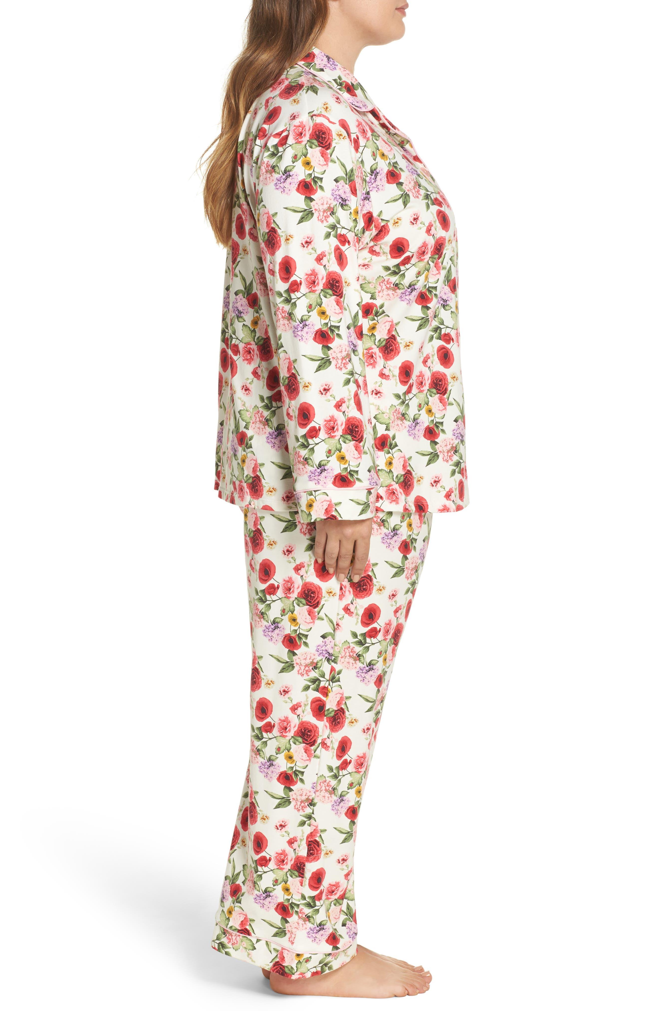 Flower Print Pajamas,                             Alternate thumbnail 3, color,