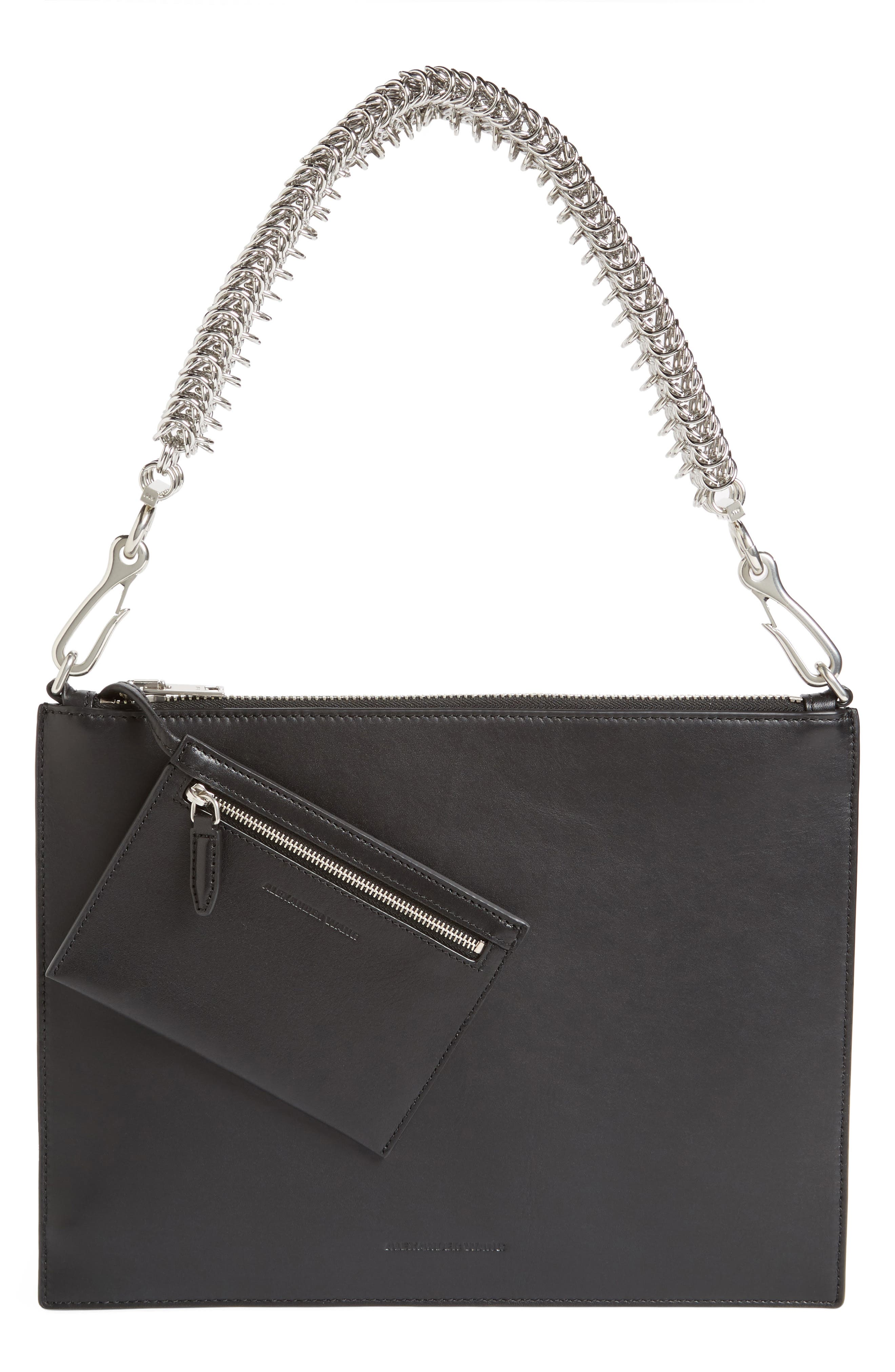Genesis Box Chain Leather Pouch,                         Main,                         color, BLACK