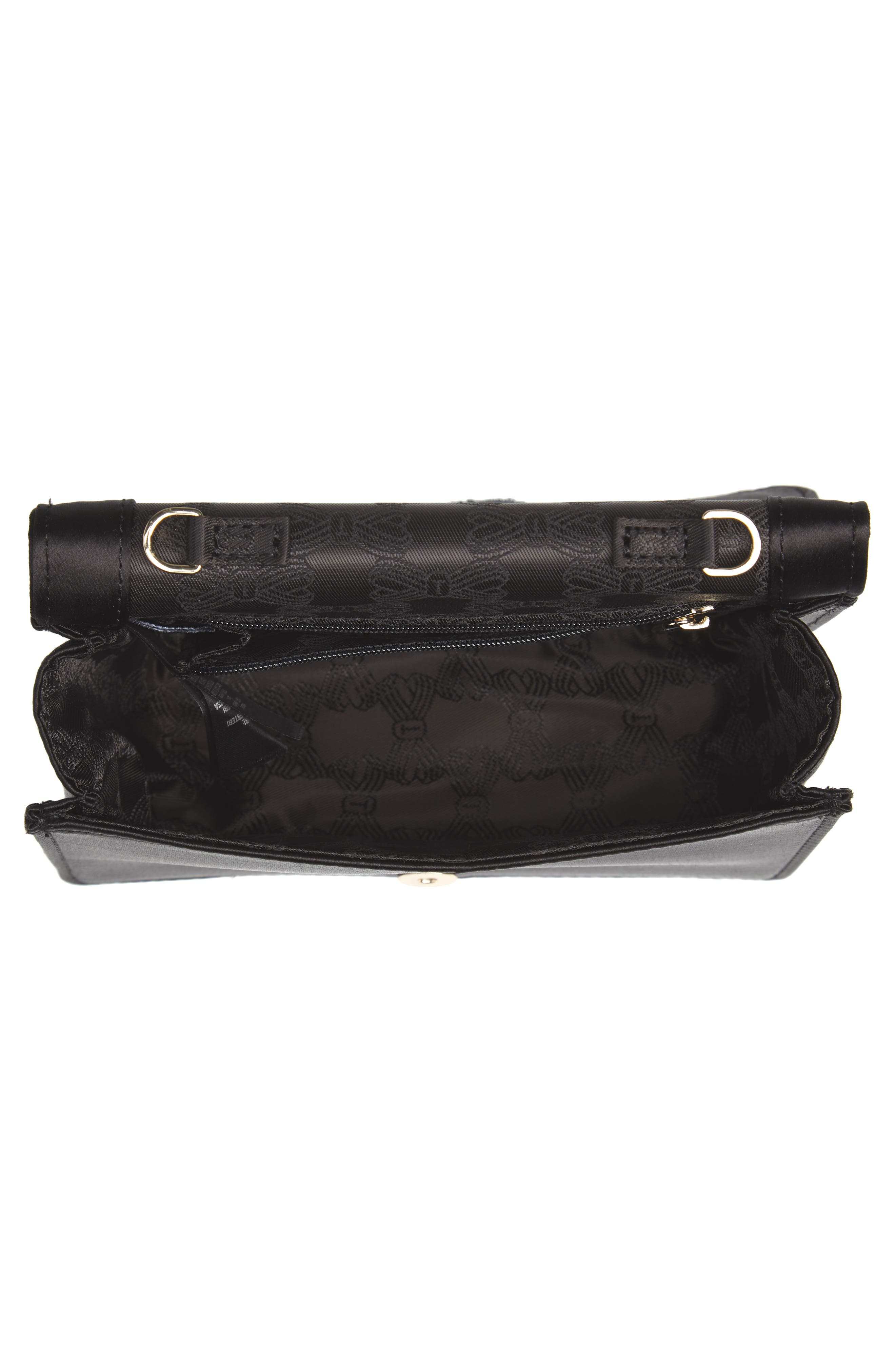 Eveelyn Bow Satin Evening Bag,                             Alternate thumbnail 4, color,                             BLACK