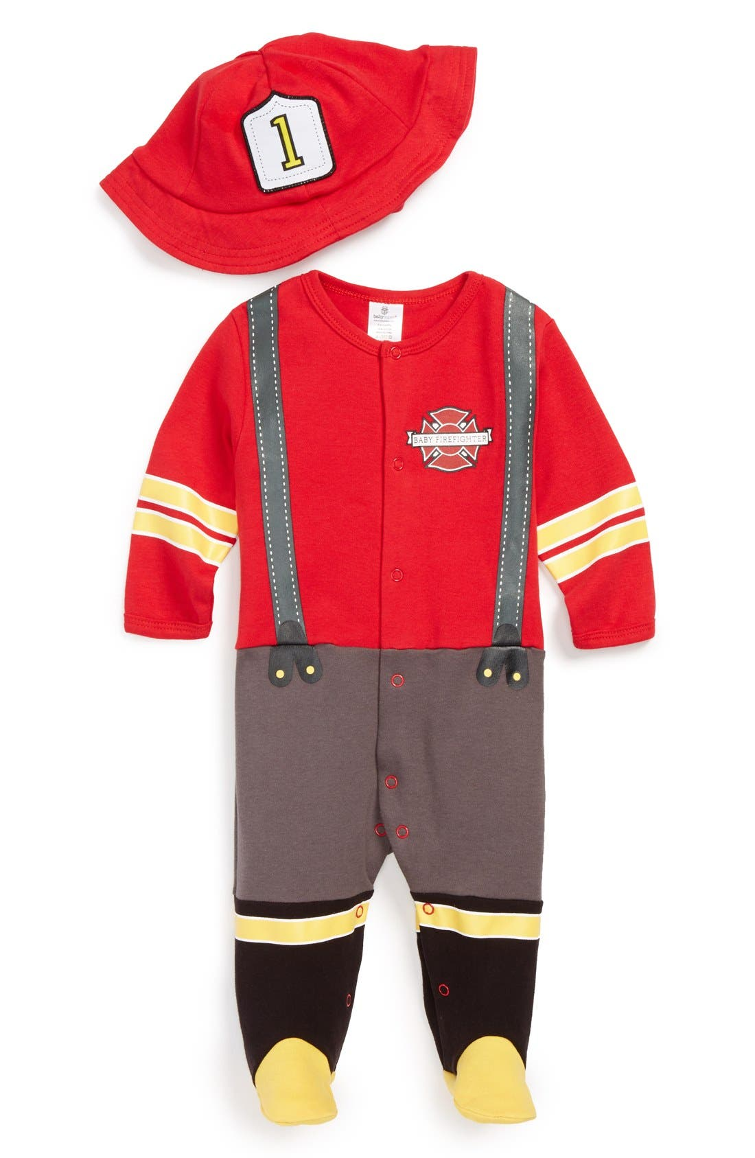 'Big Dreamzzz - Firefighter' Footie & Hat,                             Main thumbnail 1, color,                             RED MULTI