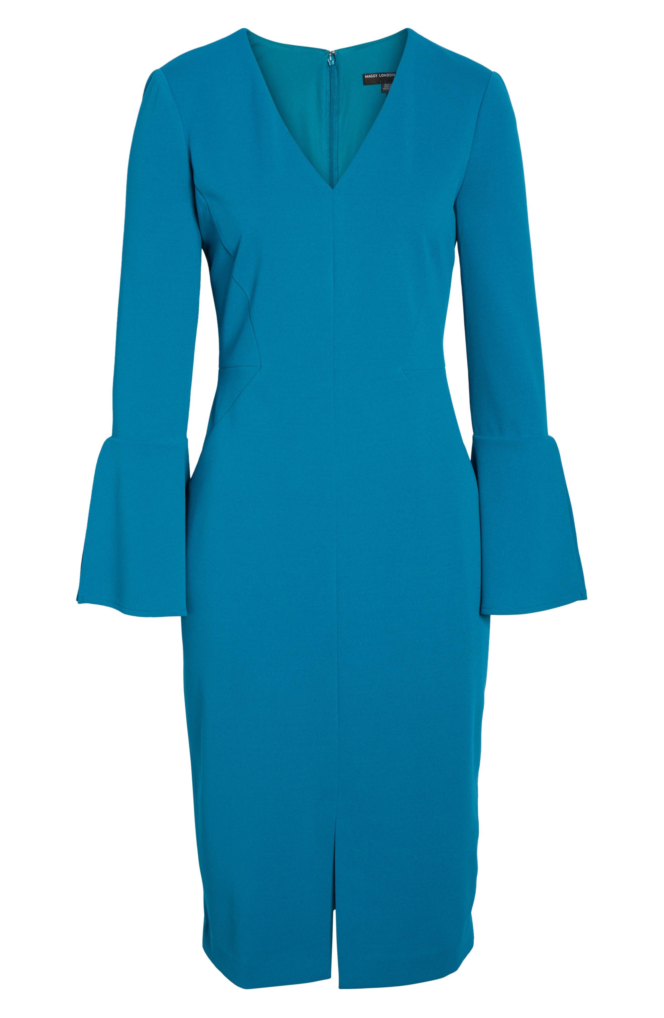 Bell Sleeve Sheath Dress,                             Alternate thumbnail 6, color,                             436