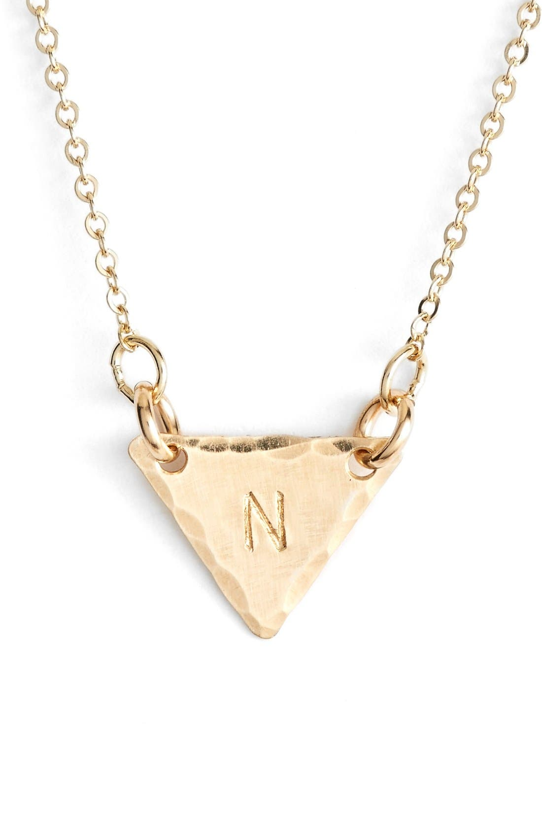 14k-Gold Fill Initial Triangle Necklace,                             Main thumbnail 14, color,