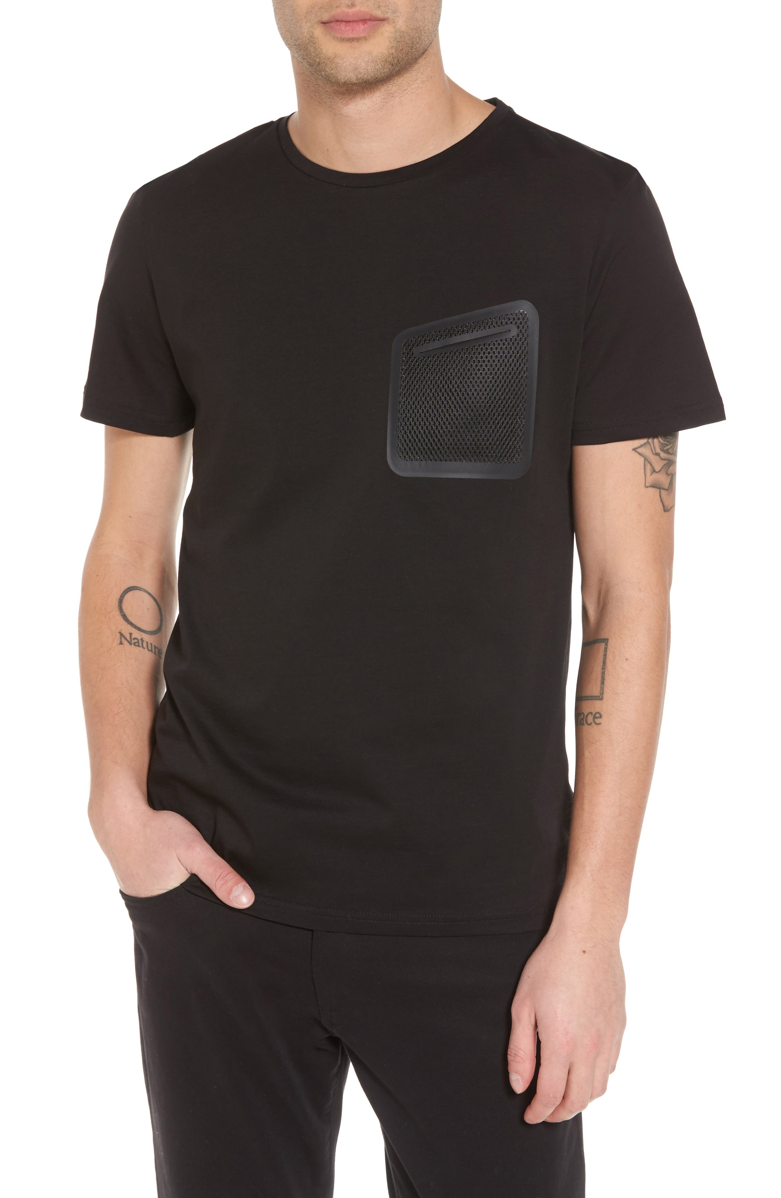 Mesh Pocket T-Shirt,                         Main,                         color, 001