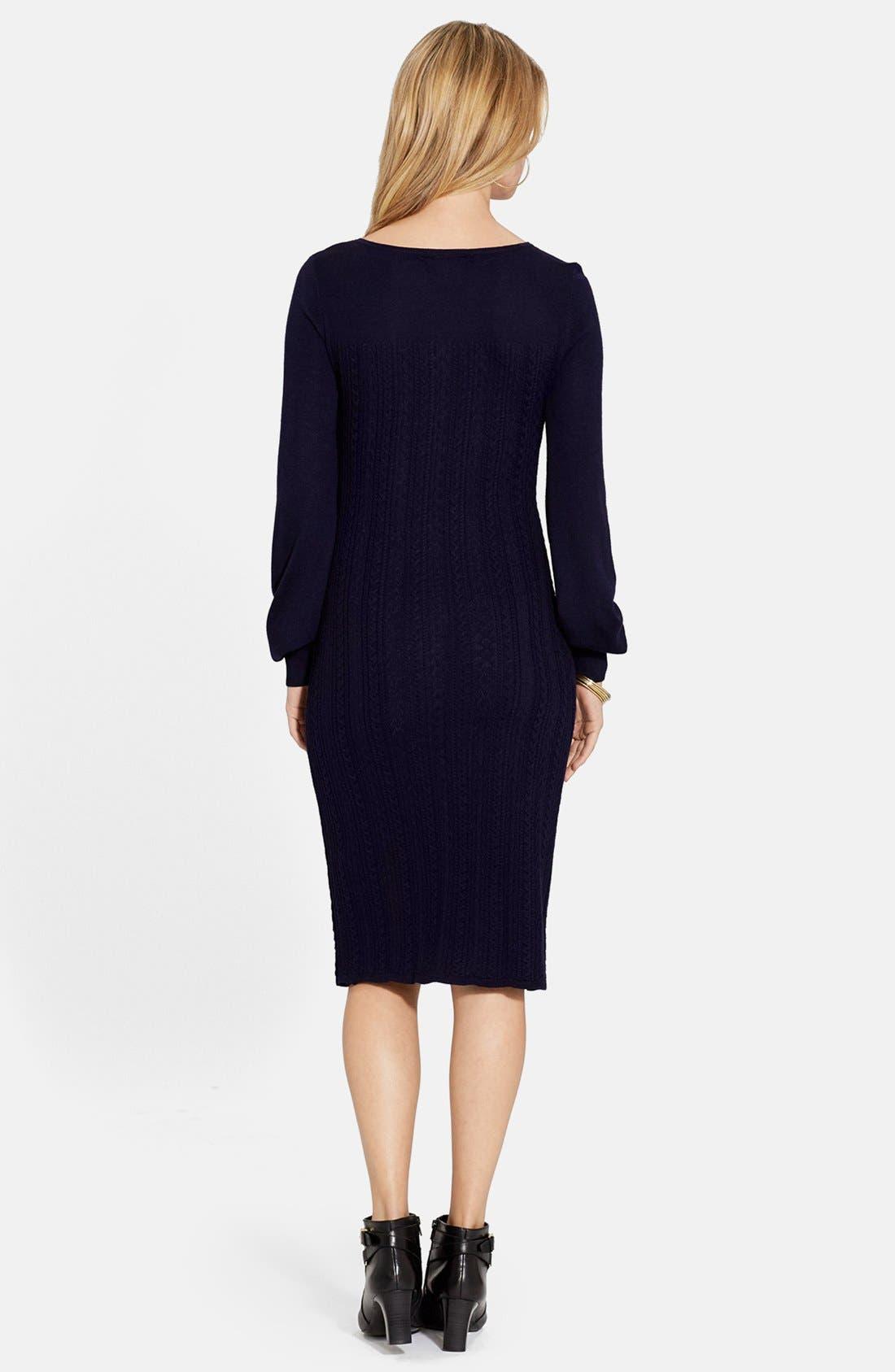 Cable Knit Merino Sweater Dress,                             Alternate thumbnail 2, color,                             401