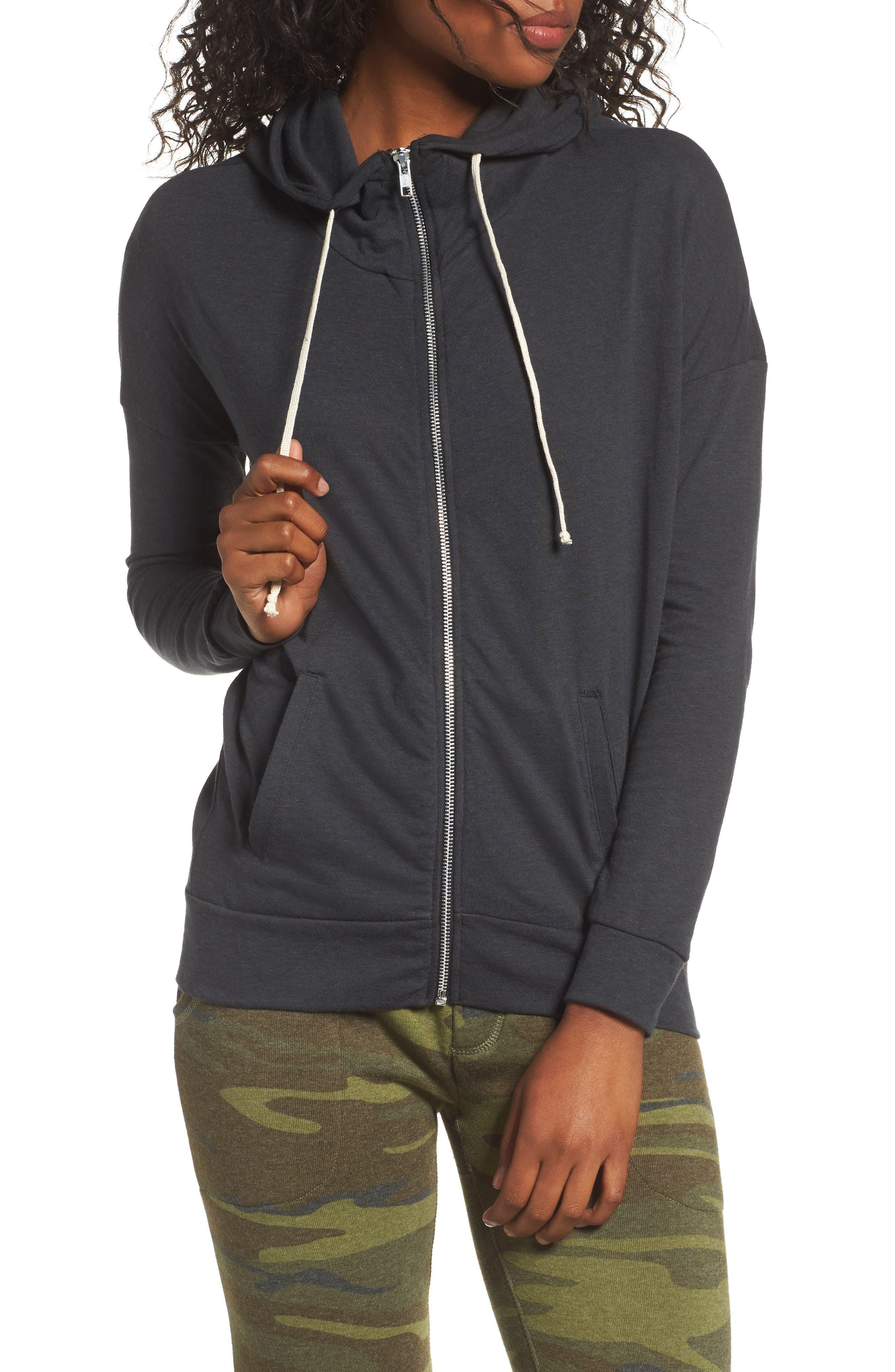 Cool Down Zip Hoodie,                         Main,                         color, ECO TRUE BLACK