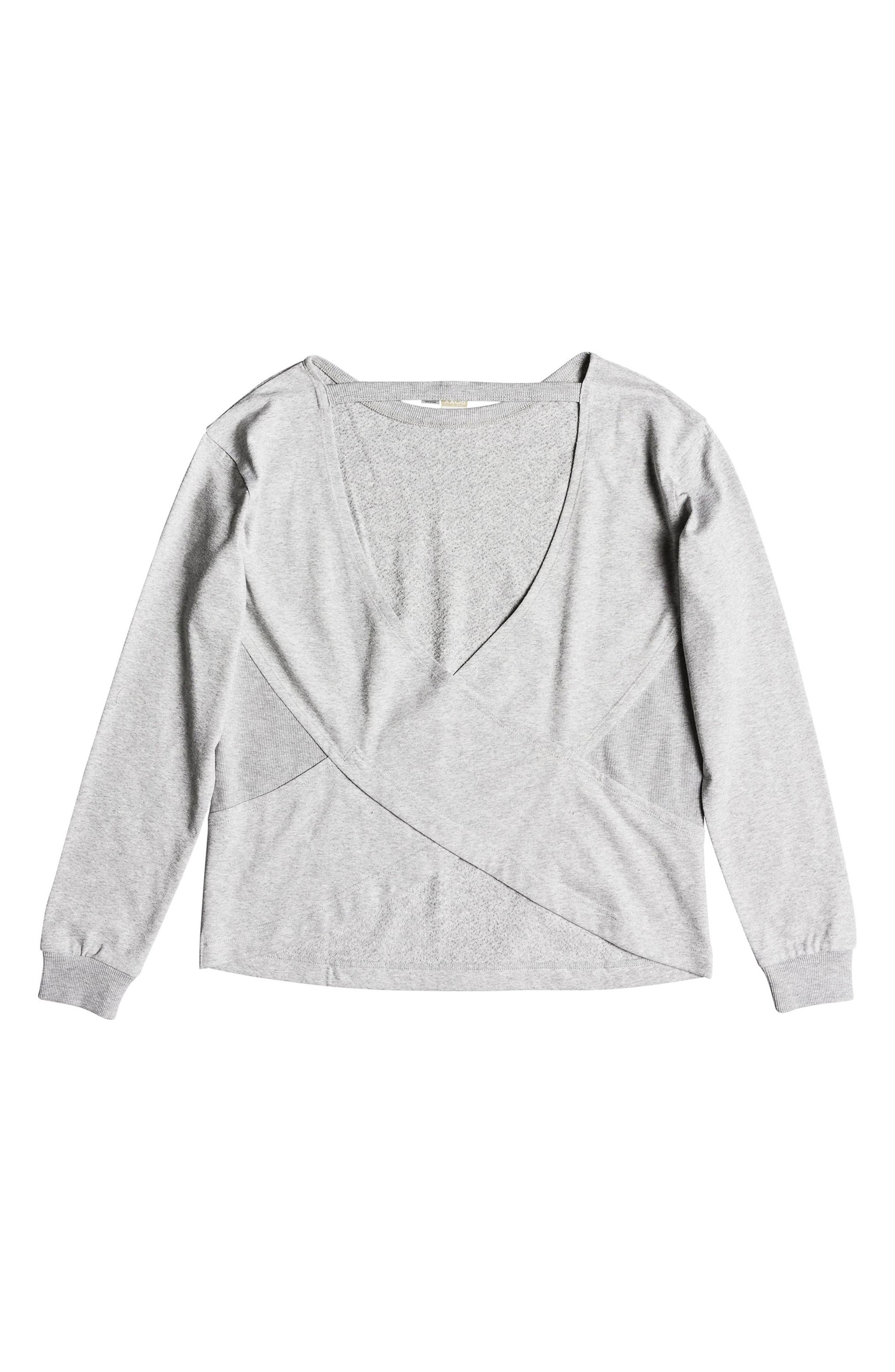 Journey On Open Back Sweatshirt,                             Alternate thumbnail 5, color,                             HERITAGE HEATHER