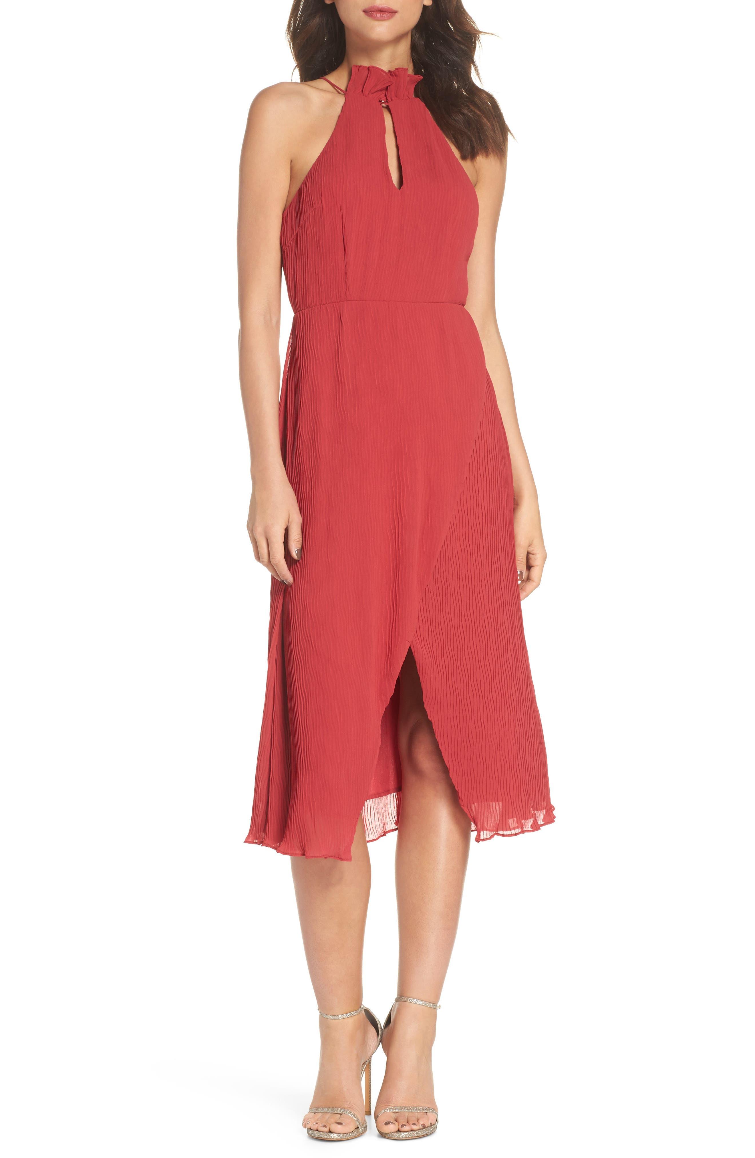 Skylines Halter Midi Dress,                             Main thumbnail 1, color,