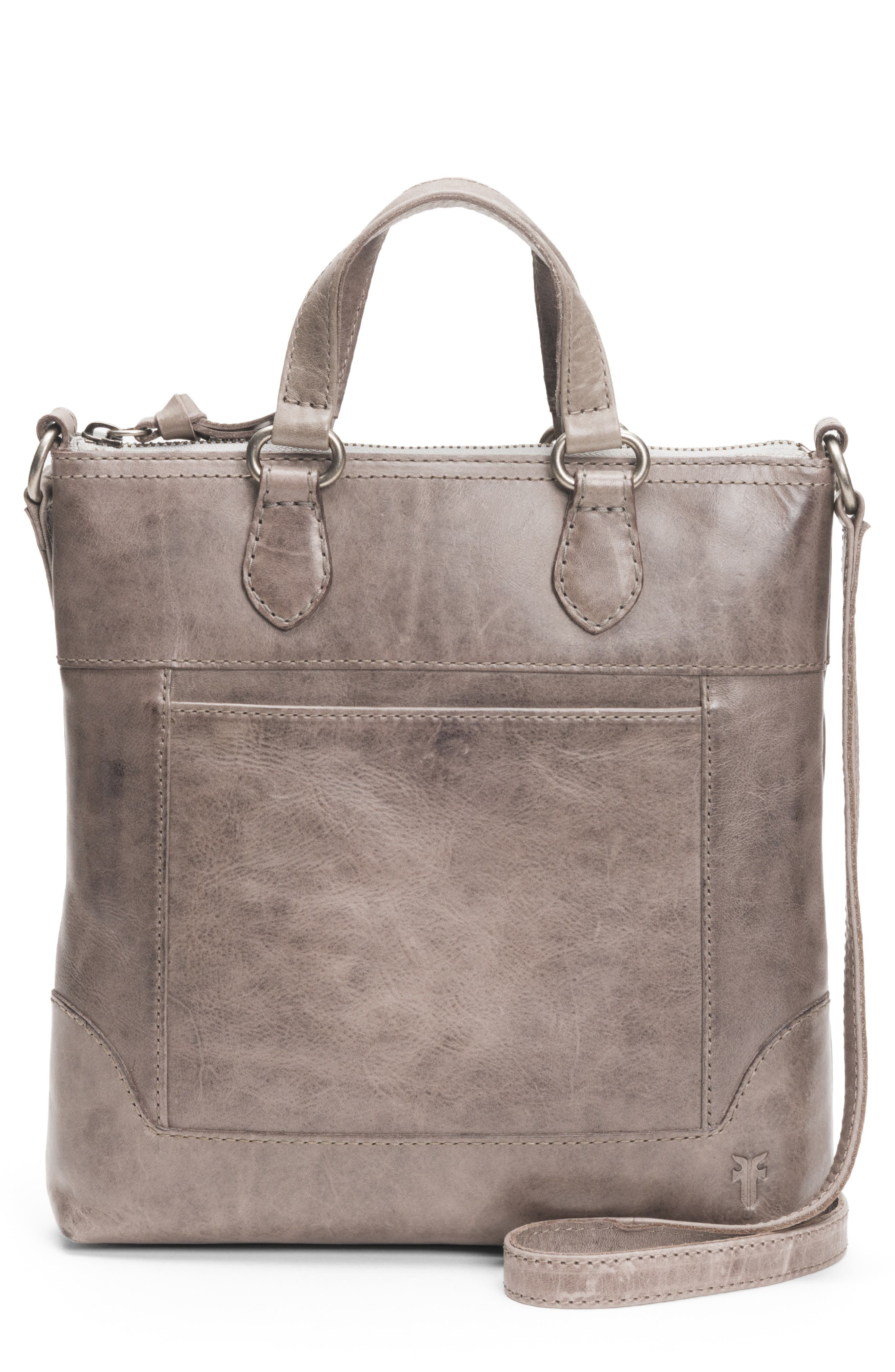 Melissa Small Leather Tote,                         Main,                         color, ICE
