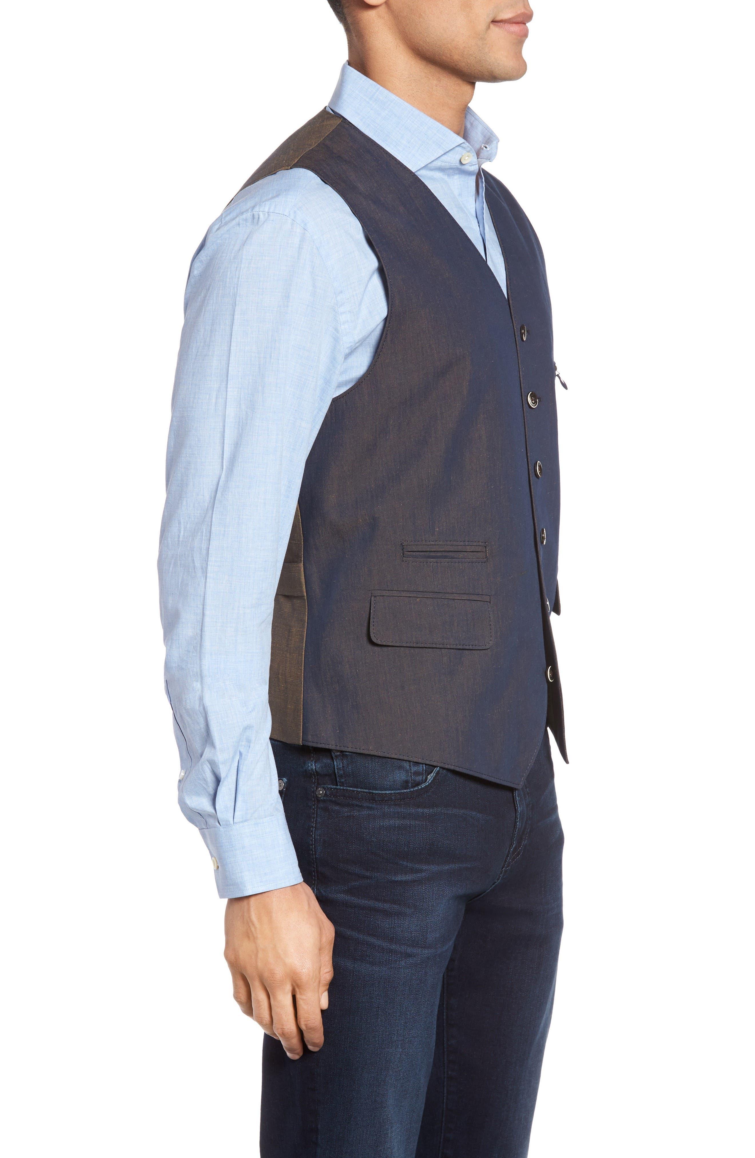 Hootie Classic Fit Linen & Cotton Vest,                             Alternate thumbnail 3, color,