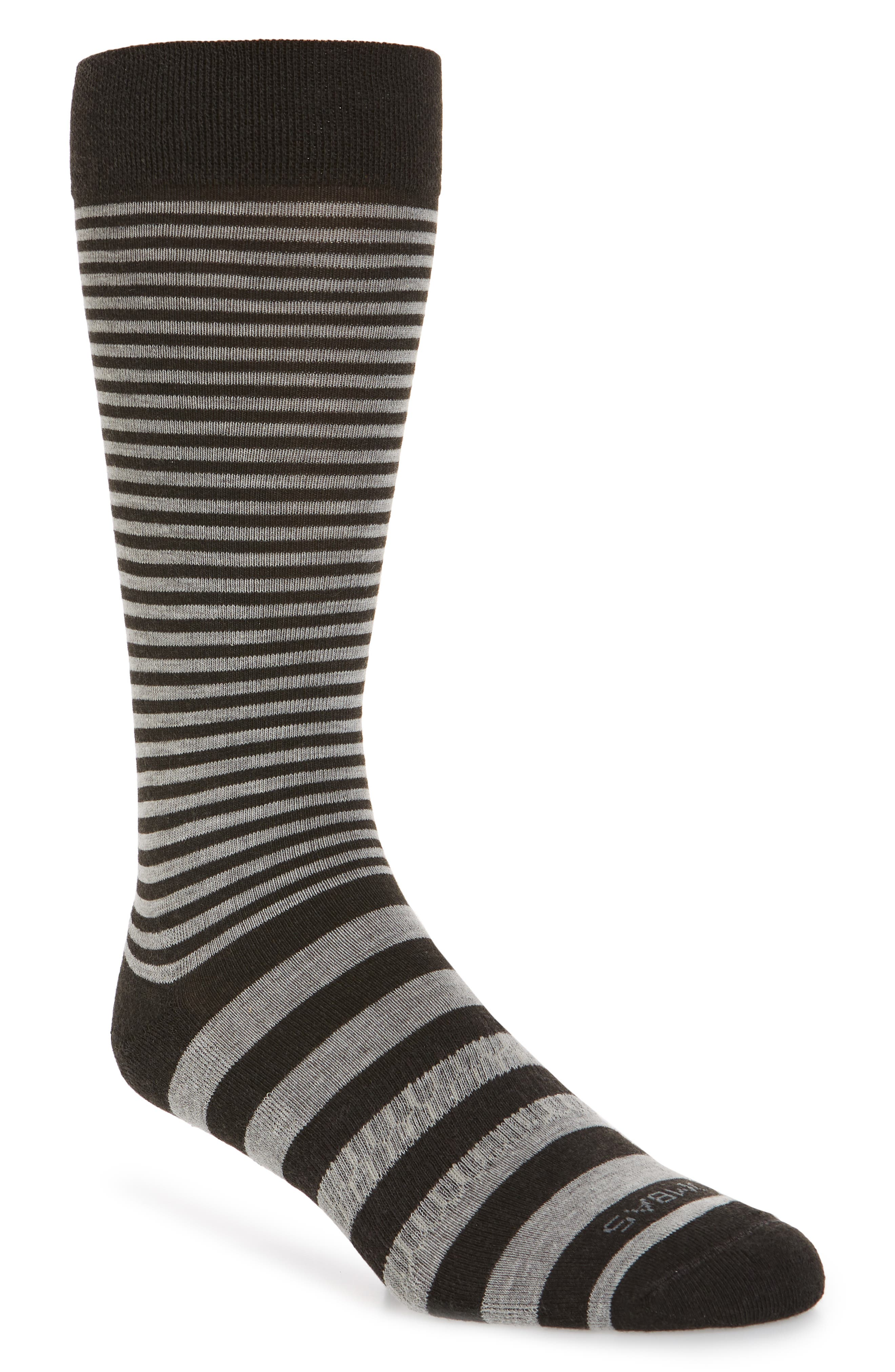 Striped Crew Socks,                             Main thumbnail 1, color,                             CHARCOAL