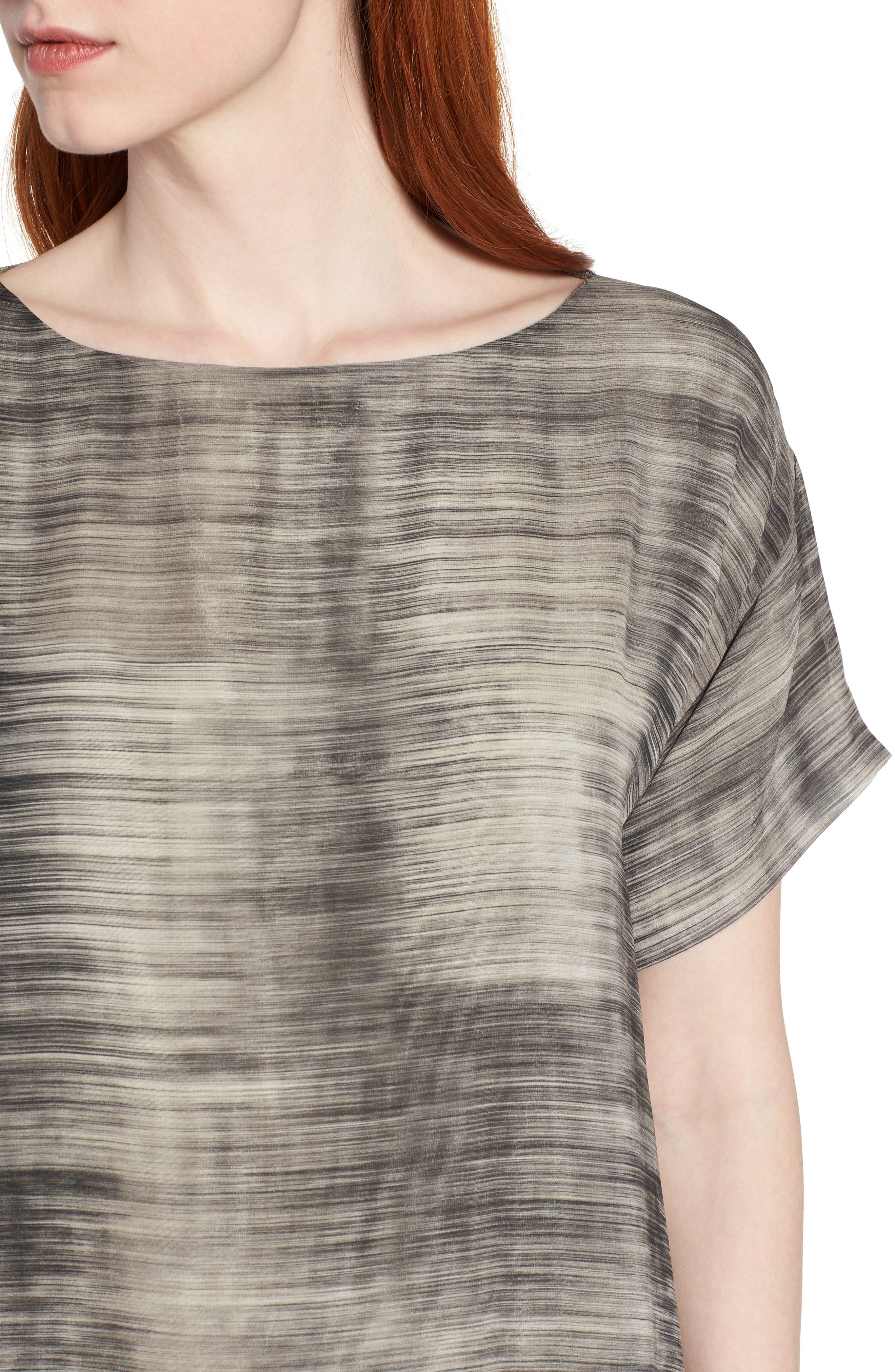 Bateau Neck Silk Shift Dress,                             Alternate thumbnail 4, color,                             068