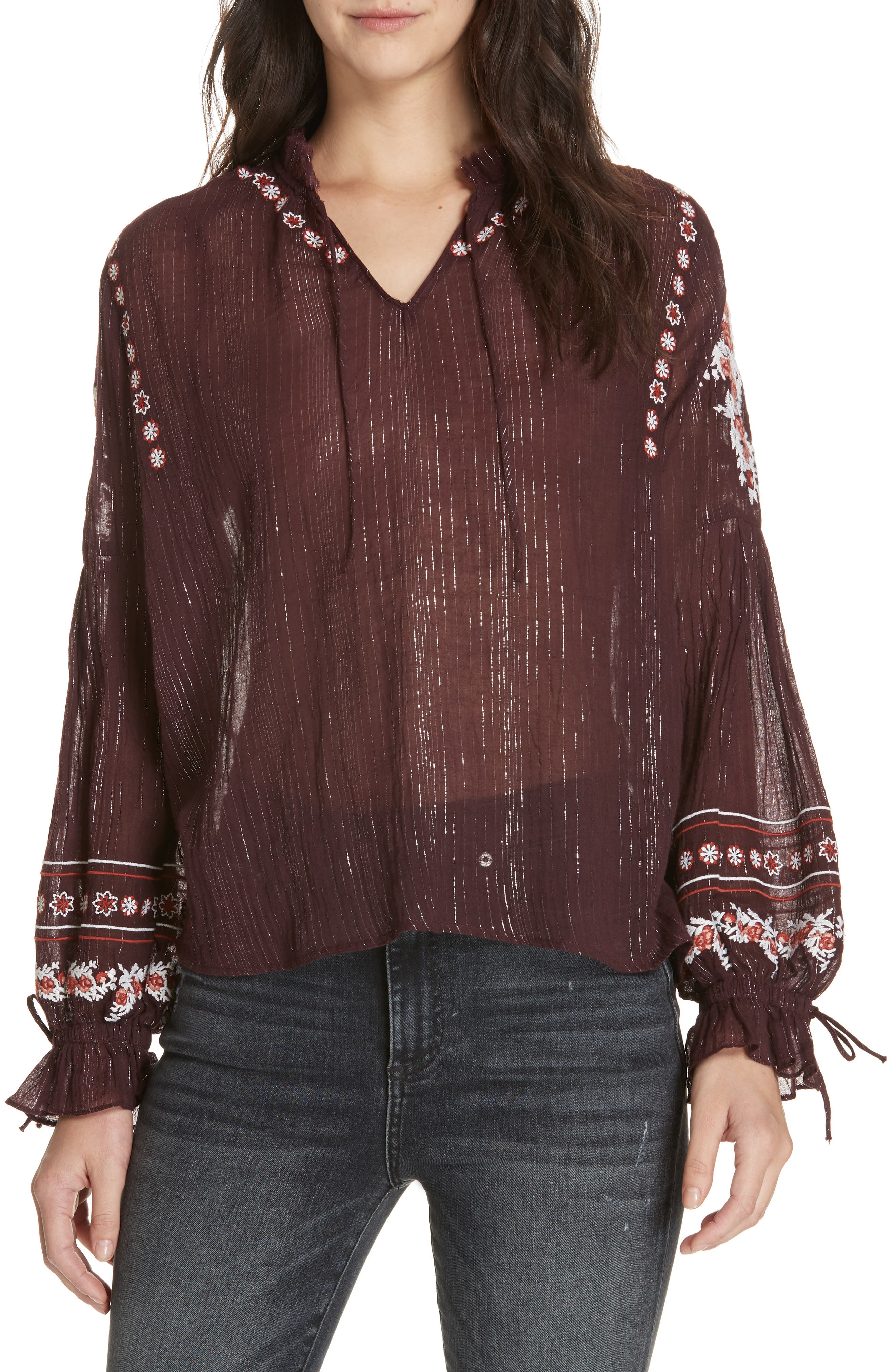 DOLAN Lily Embroidered Peasant Top, Main, color, MULBERRY