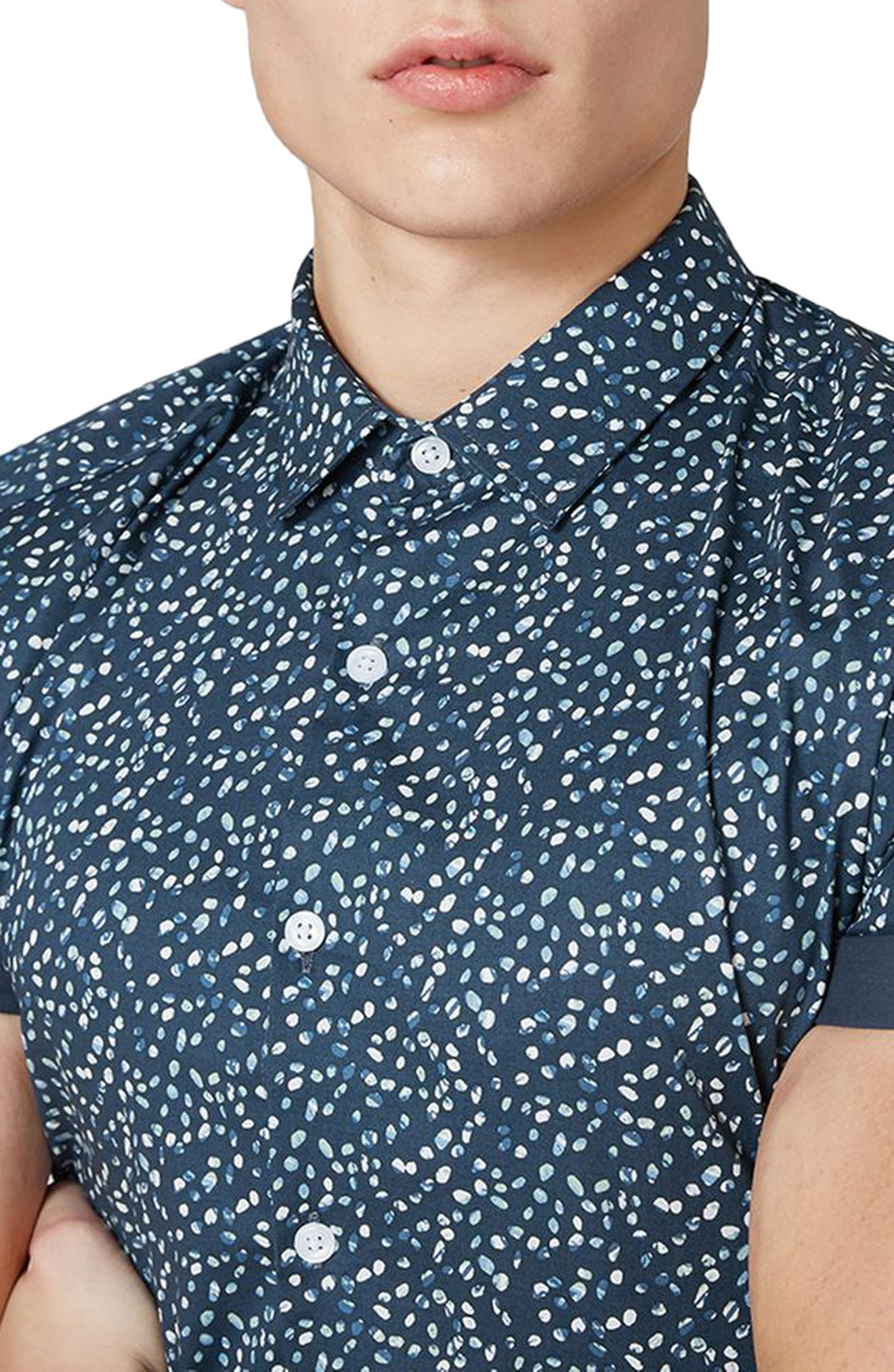 Muscle Fit Marble Print Shirt,                             Alternate thumbnail 3, color,                             401