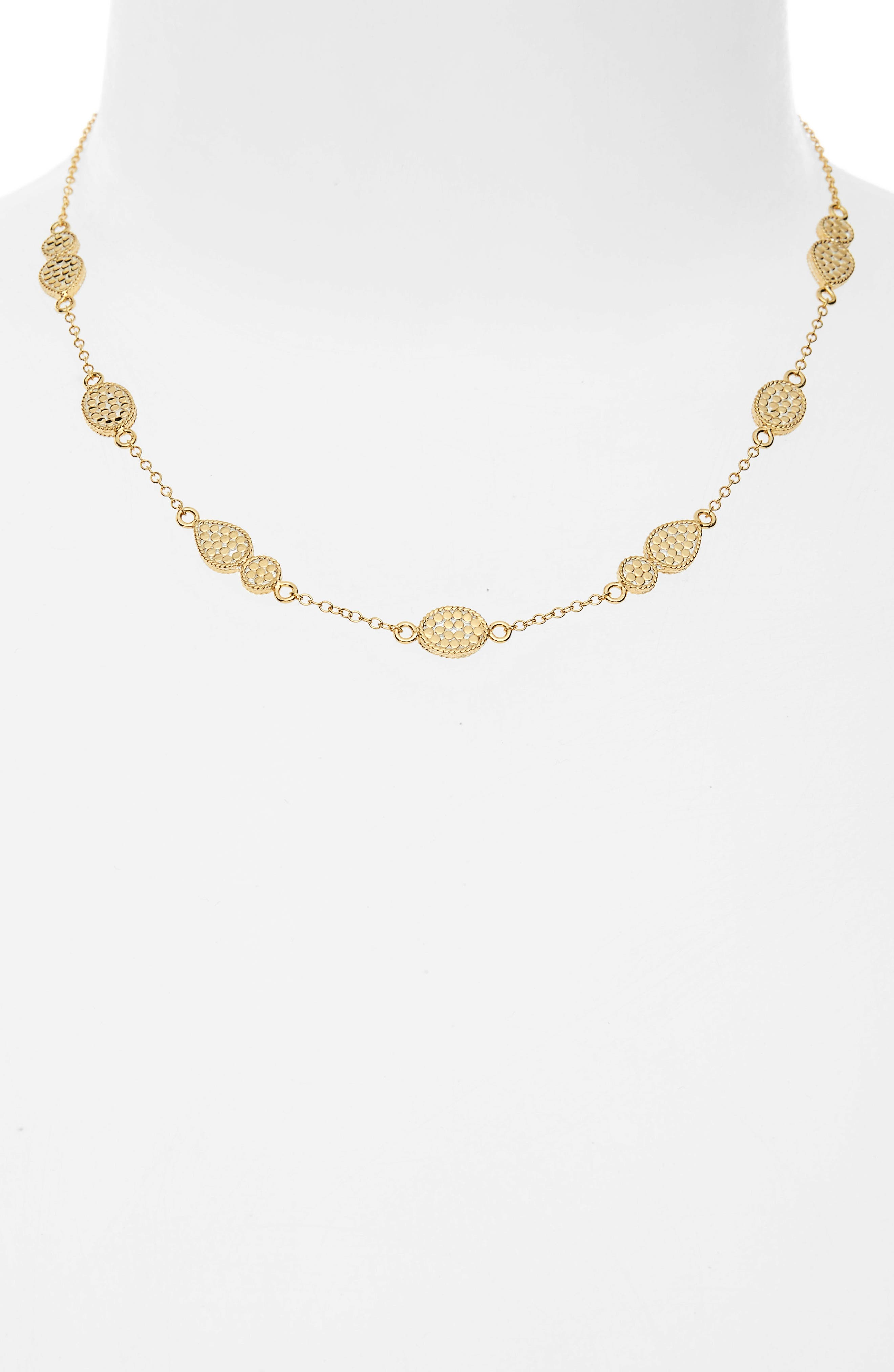 Gold Station Collar Necklace,                             Alternate thumbnail 2, color,                             GOLD