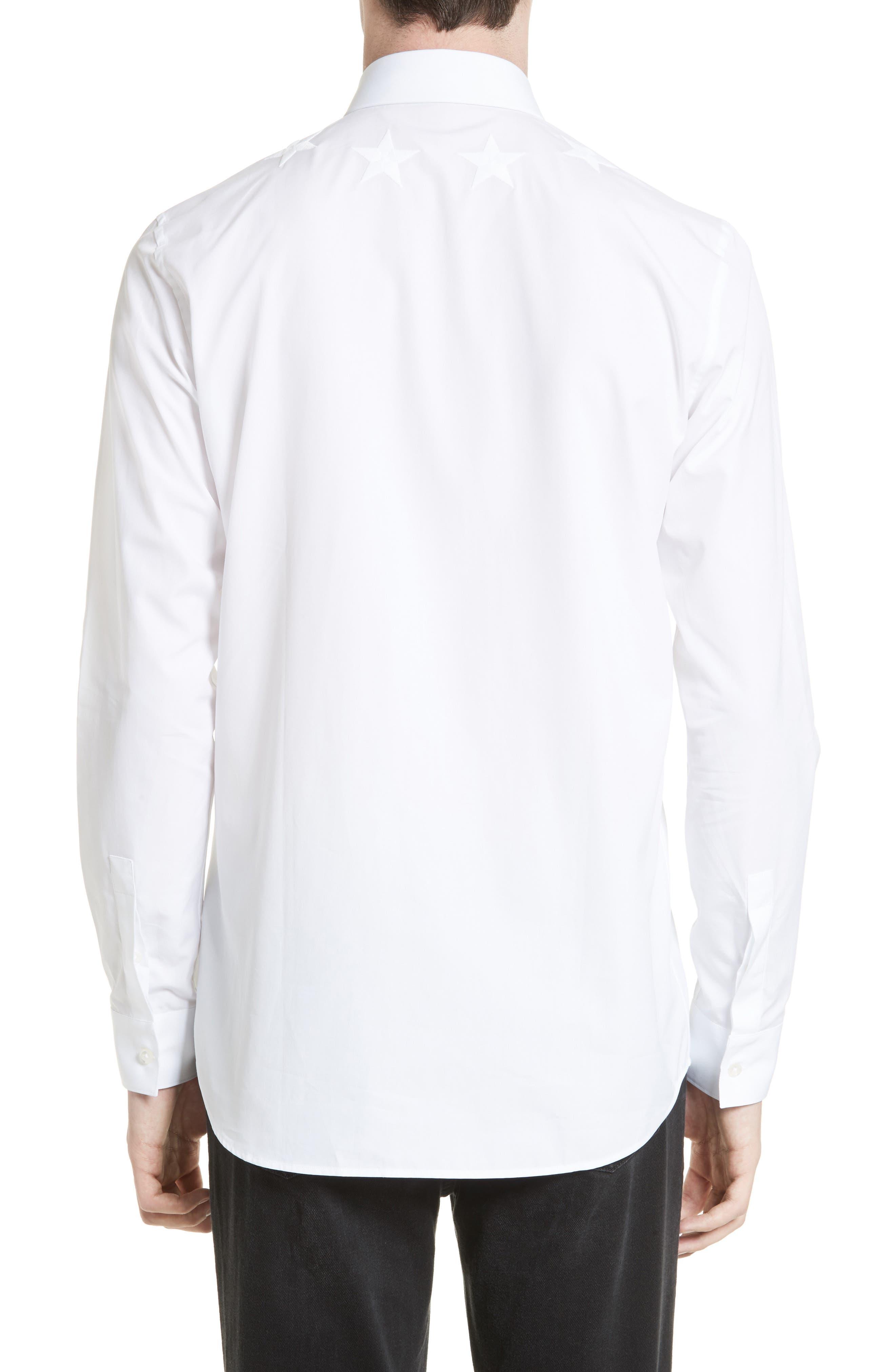 Tonal Star Embroidered Sport Shirt,                             Alternate thumbnail 3, color,                             100