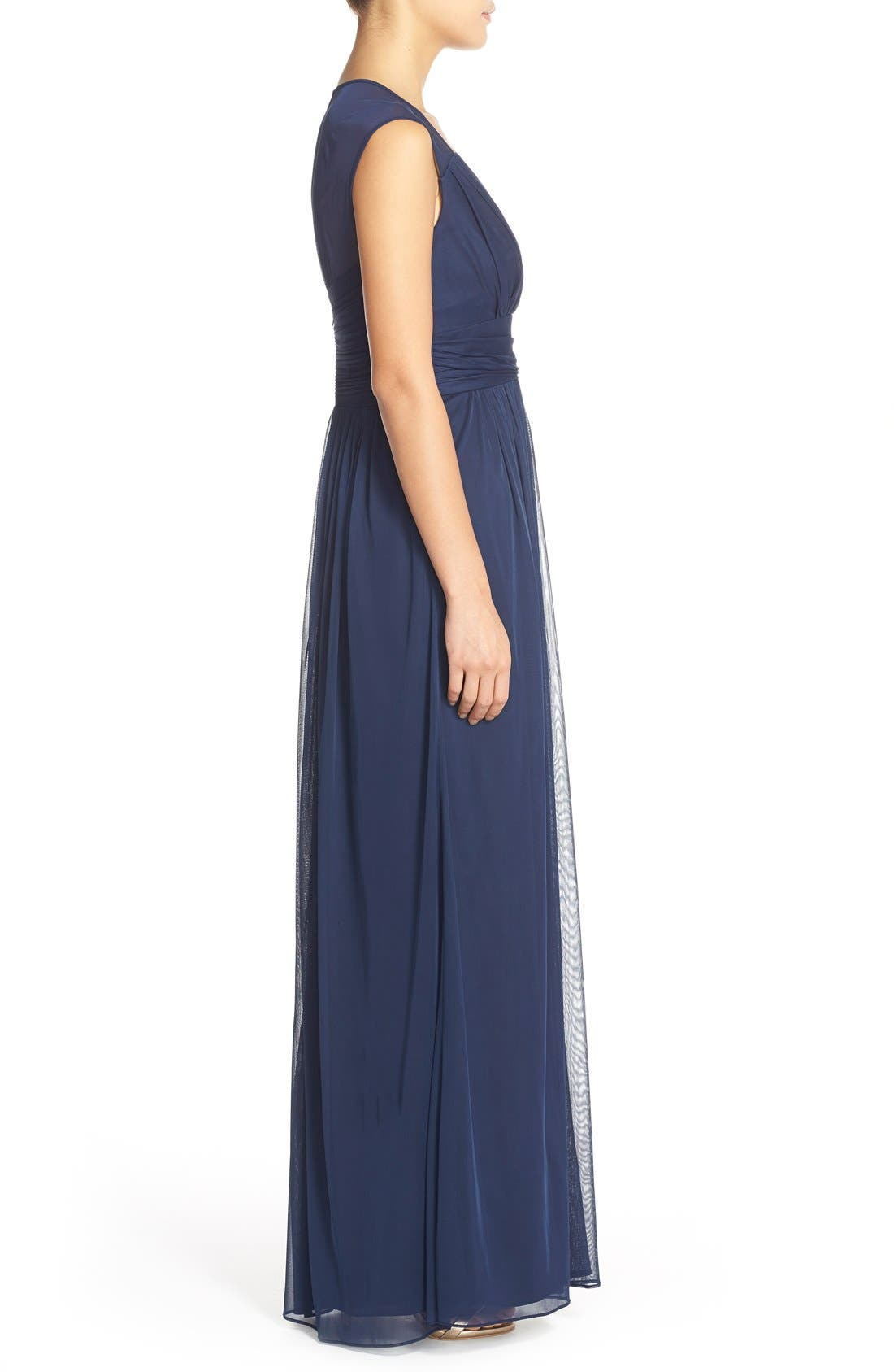 ALFRED SUNG,                             Shirred Chiffon Cap Sleeve Gown,                             Alternate thumbnail 3, color,                             MIDNIGHT