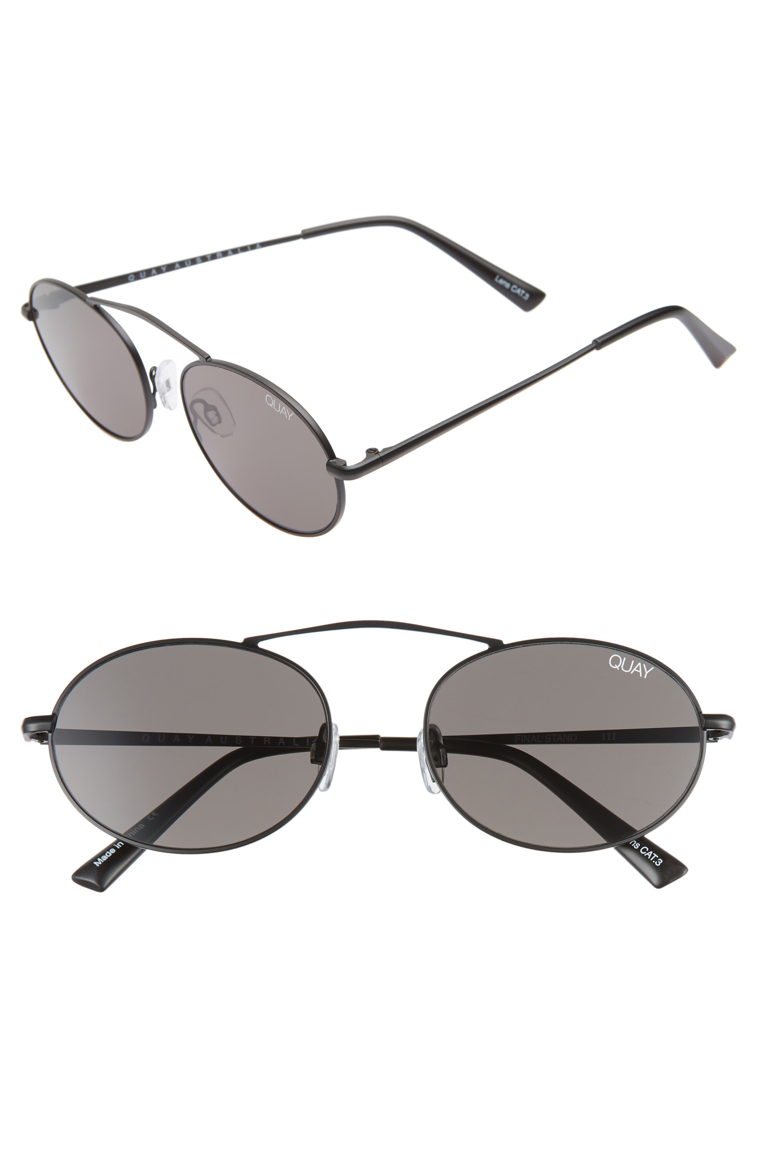 x Finders Keepers Final Stand 53mm Round Sunglasses,                         Main,                         color, BLACK/ SMOKE