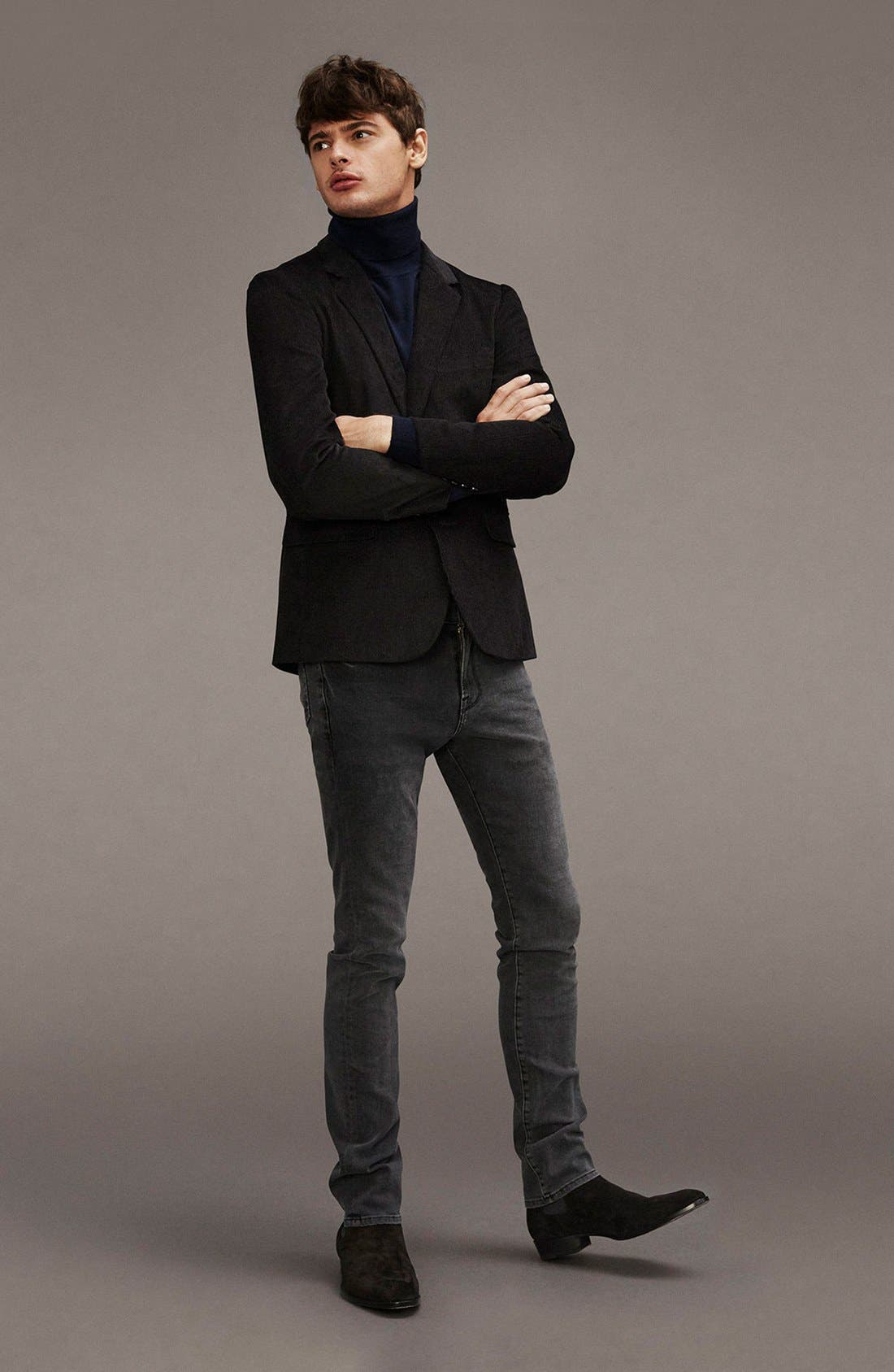 'L'Homme' Skinny Fit Jeans,                             Alternate thumbnail 3, color,                             FADE TO GREY
