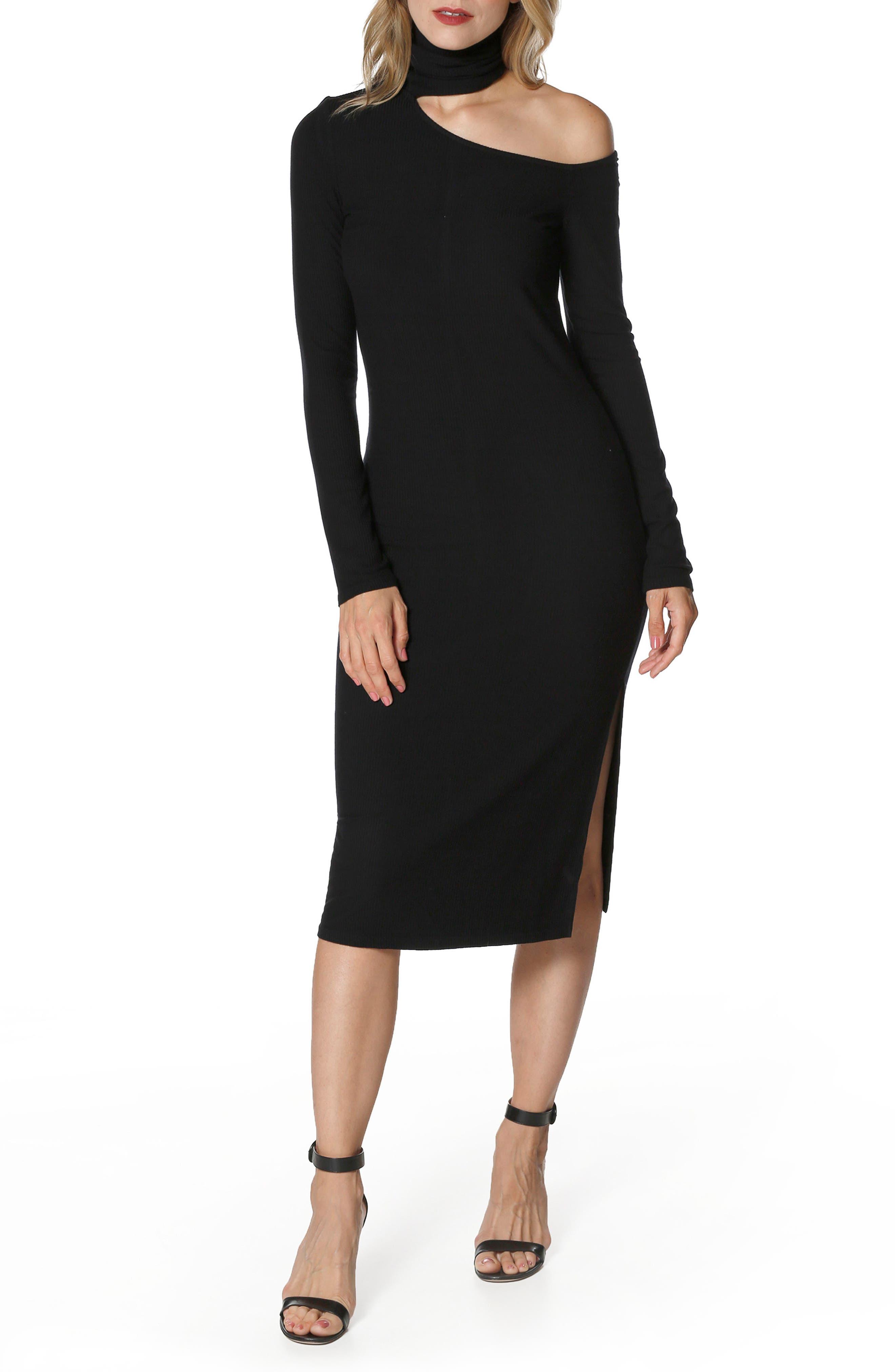 Faith Knit Cold Shoulder Dress,                             Main thumbnail 1, color,                             001