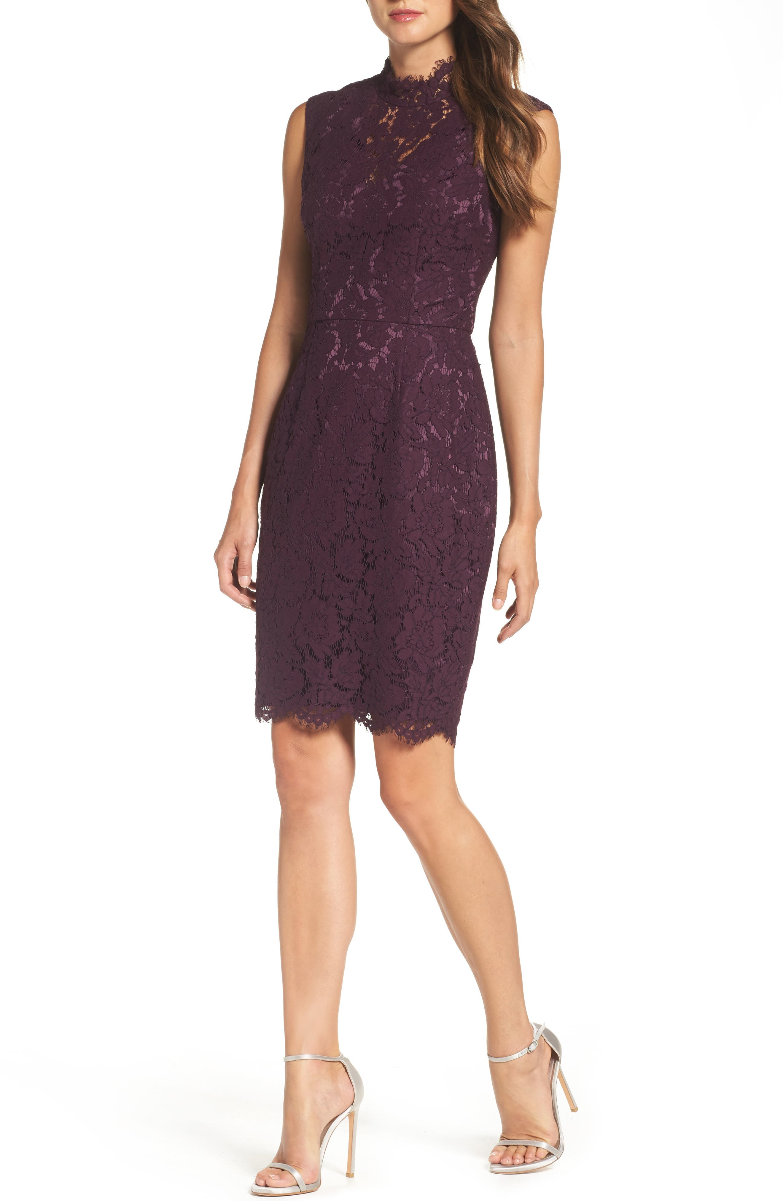 Open Back Lace Sheath Dress,                         Main,                         color, 506