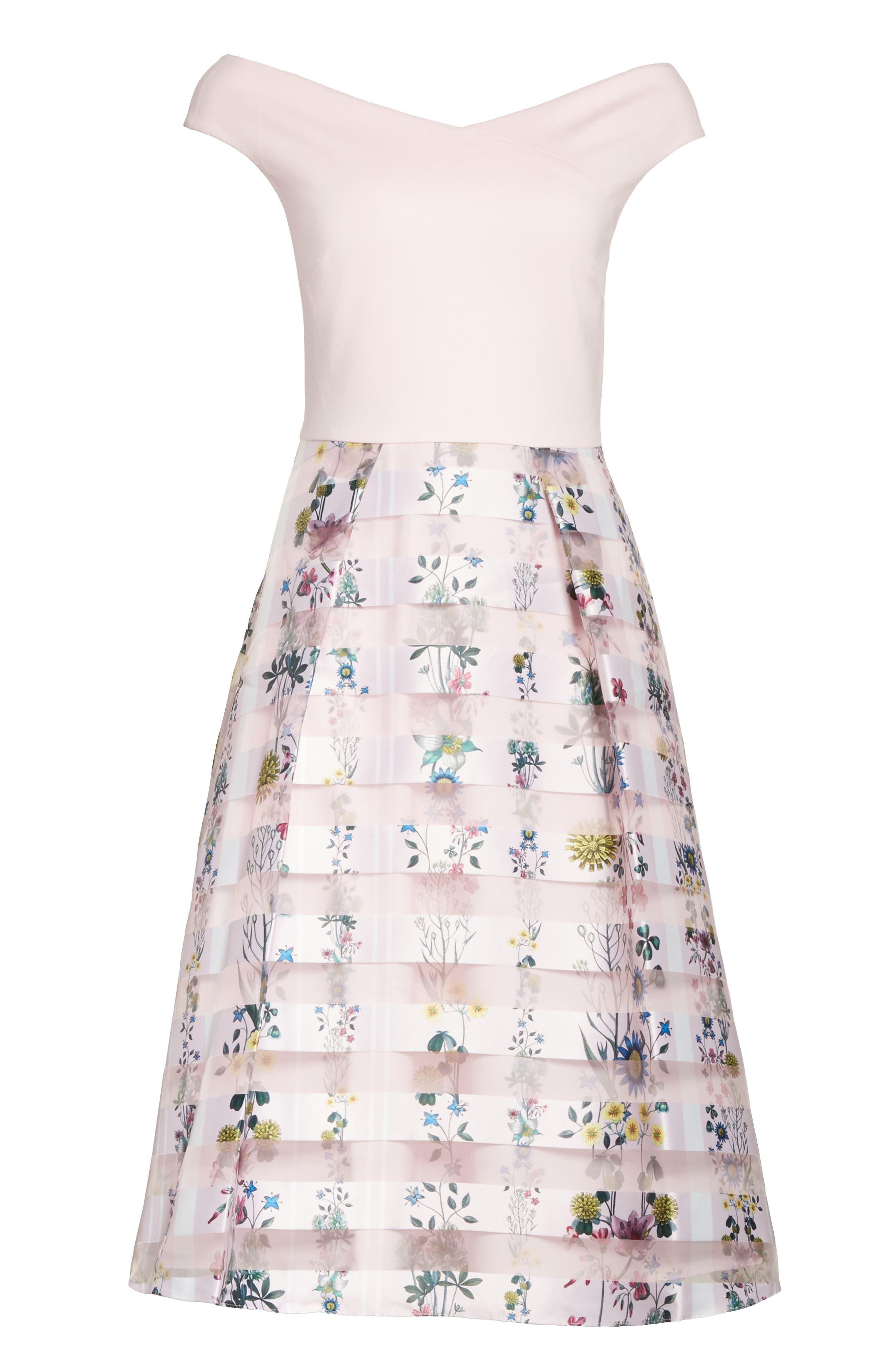 Lulou Unity Floral Off the Shoulder Dress,                             Alternate thumbnail 6, color,                             672