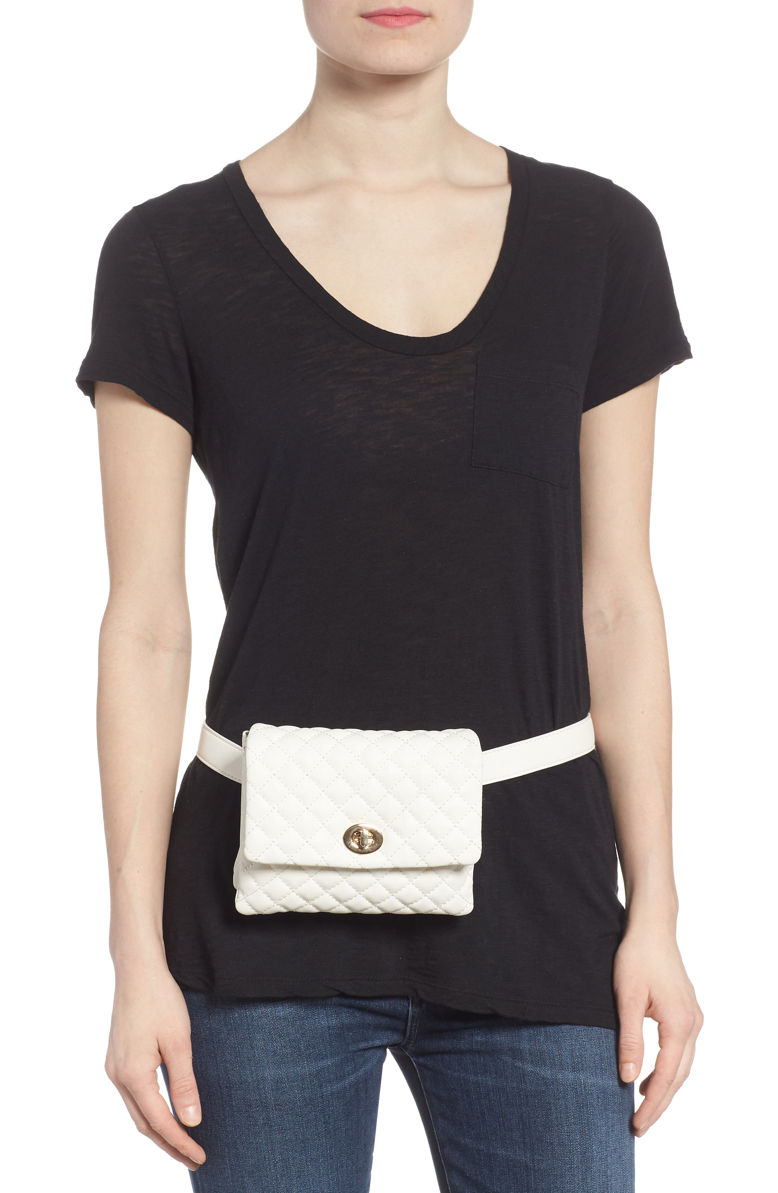 Mali + Lili Quilted Vegan Leather Convertible Belt Bag,                             Alternate thumbnail 2, color,                             WHITE