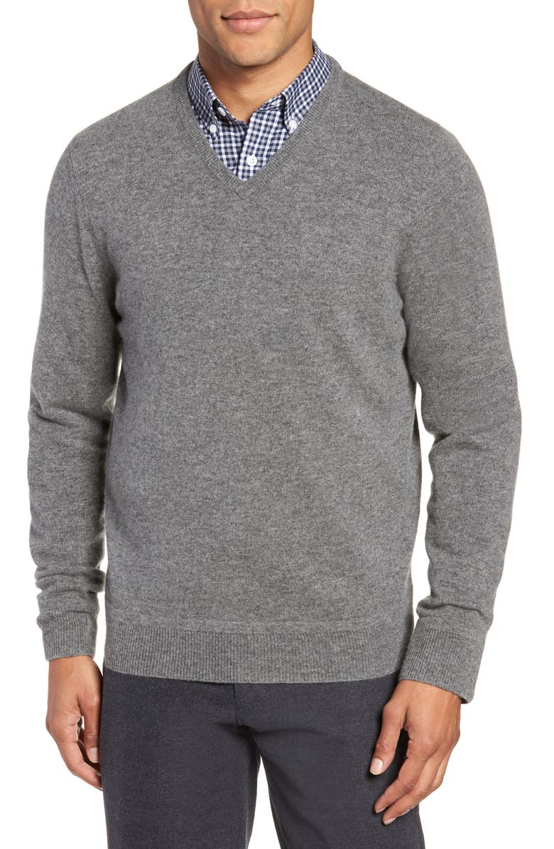 V-Neck Cashmere Sweater,                         Main,                         color, GREY KITTEN