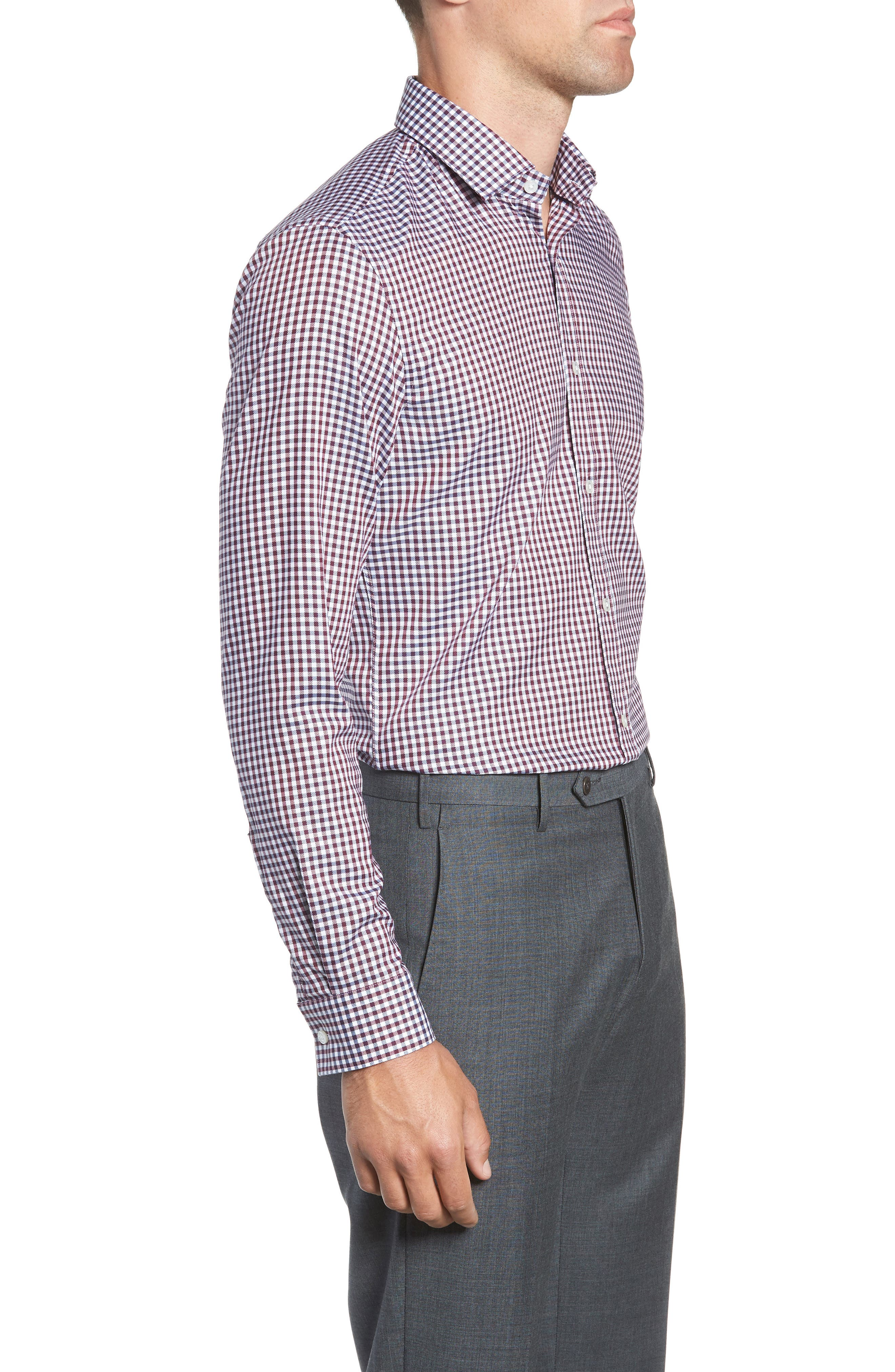 x Nordstrom Isaac Slim Fit Check Dress Shirt,                             Alternate thumbnail 4, color,                             RED