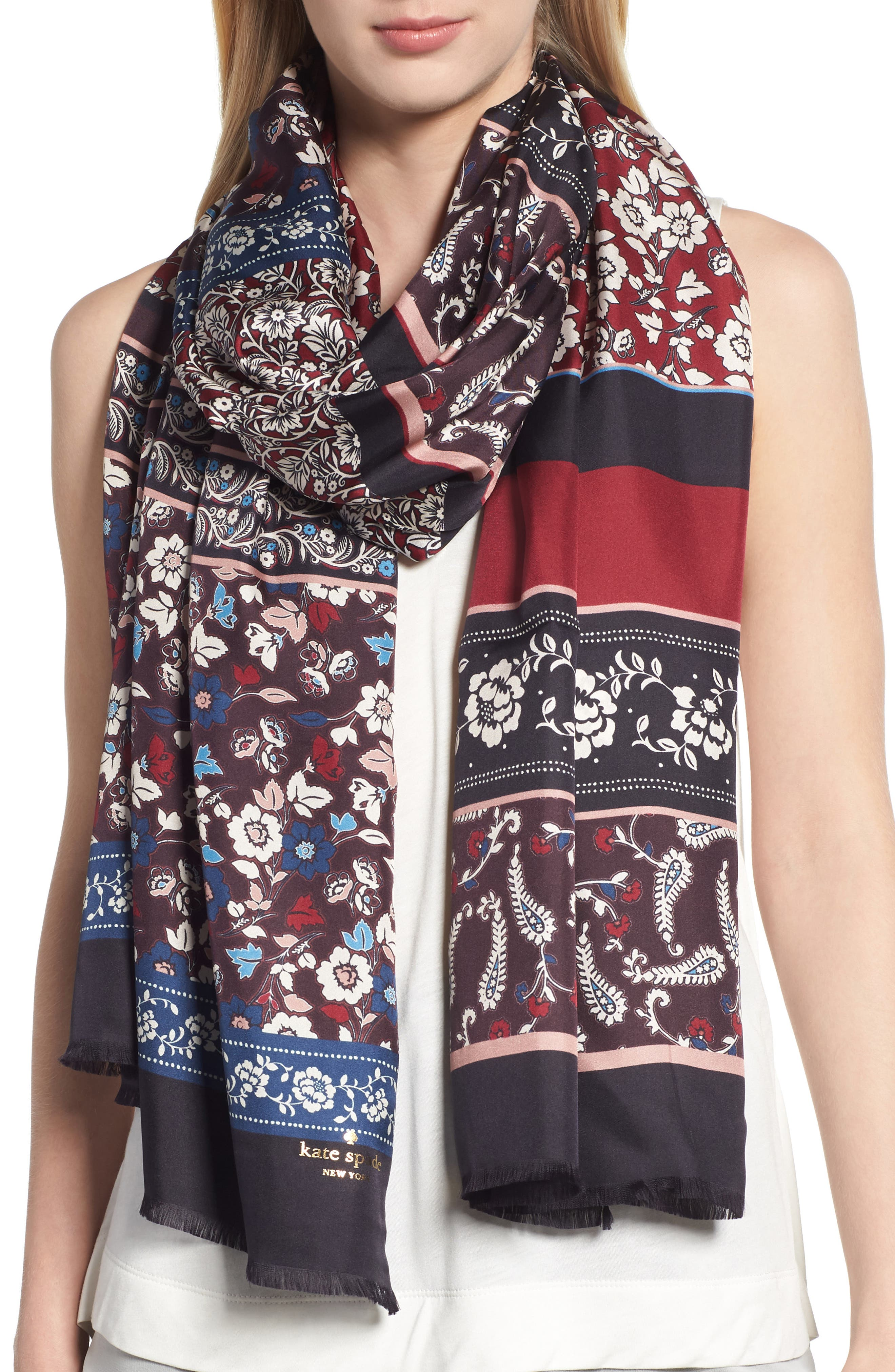 patchwork silk scarf,                         Main,                         color, BLACK