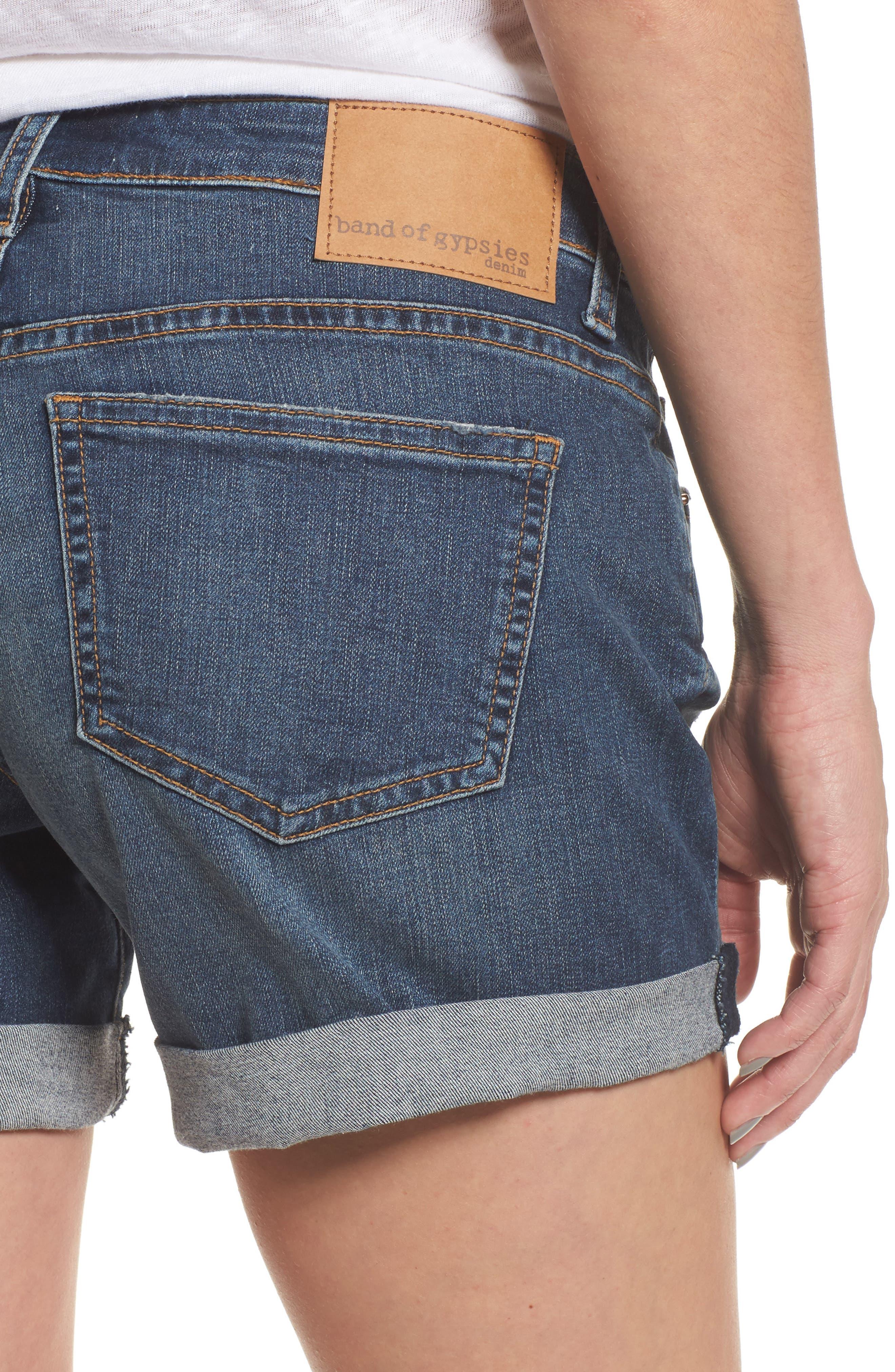 Allie Boyfriend Denim Shorts,                             Alternate thumbnail 4, color,                             400