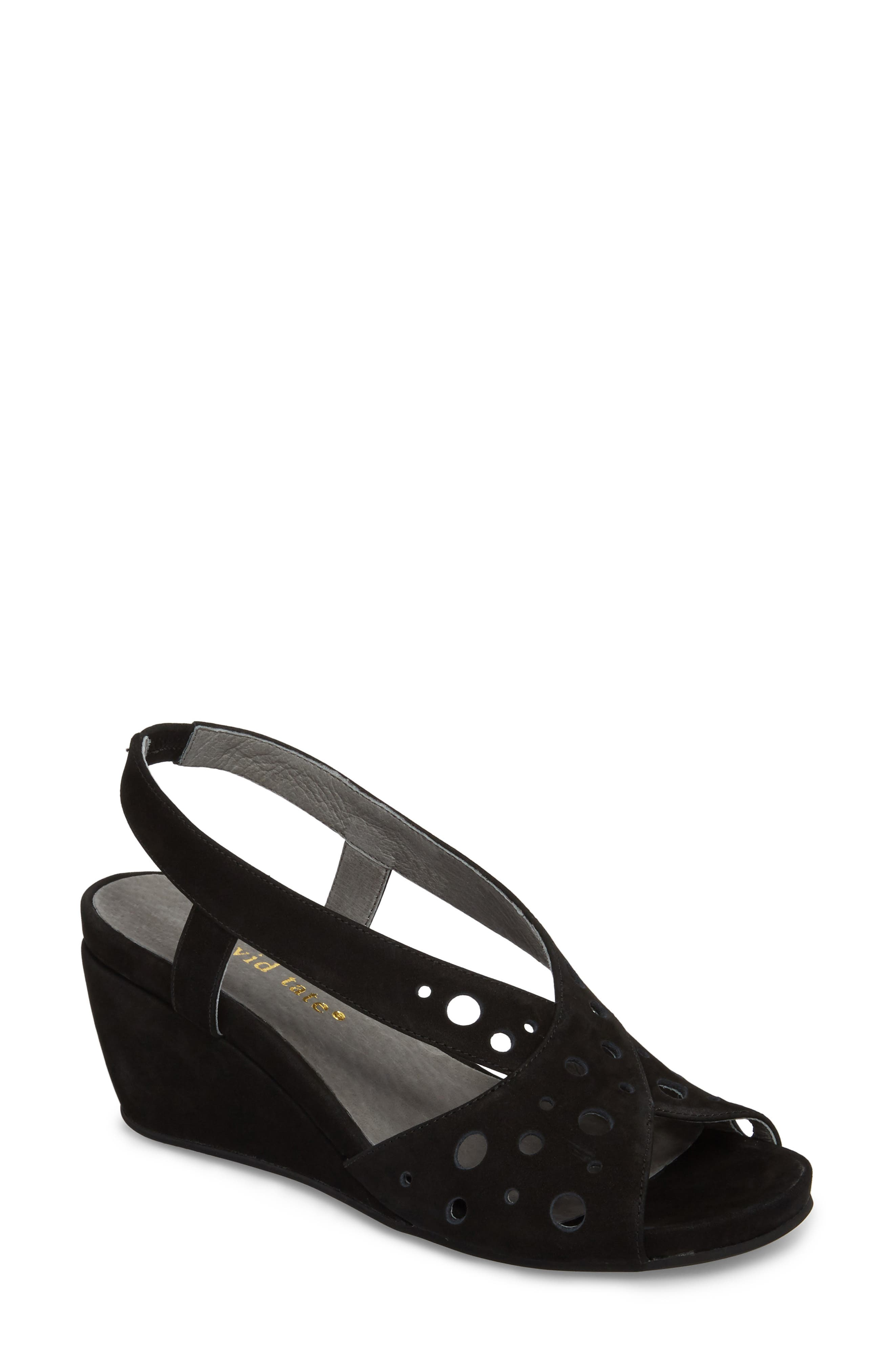 Yummy Wedge,                             Main thumbnail 1, color,                             BLACK NUBUCK