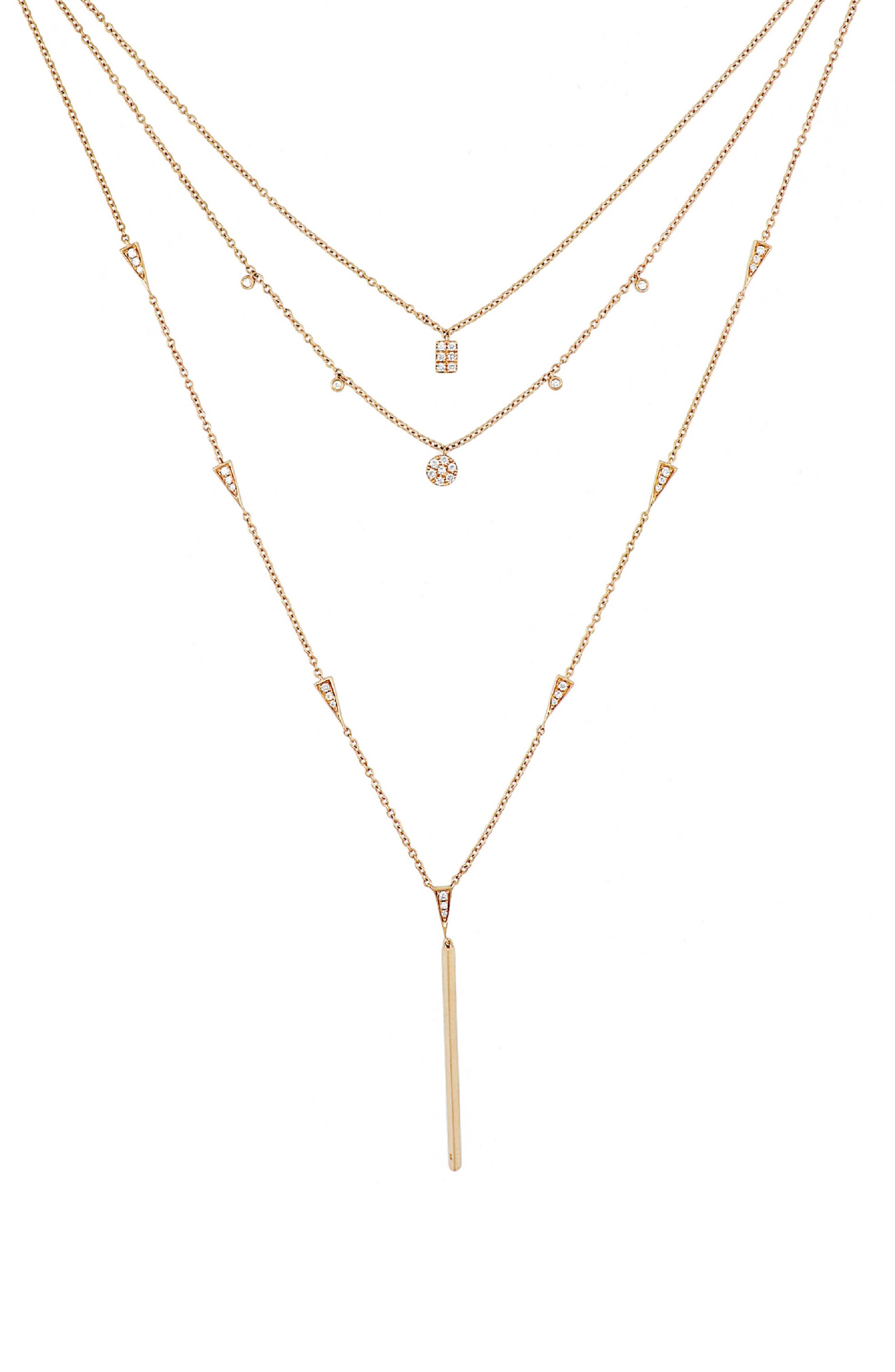 Diamond Layered Necklace,                         Main,                         color, ROSE GOLD/ DIAMOND