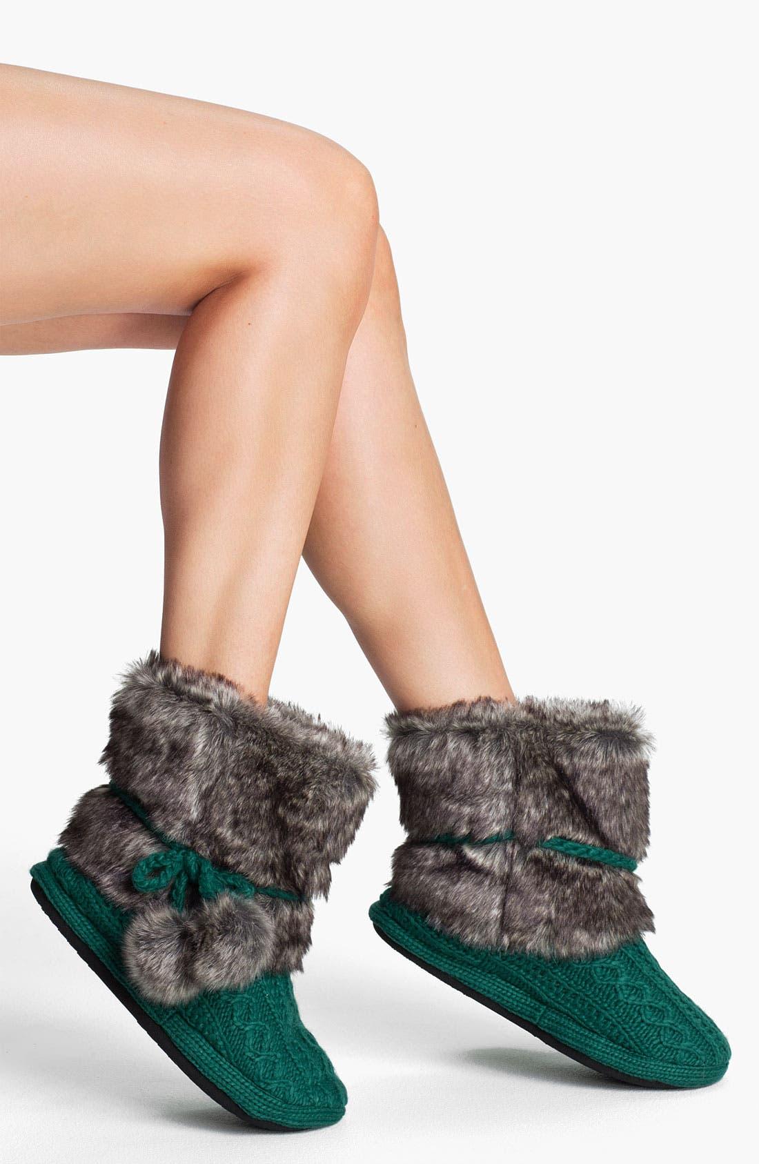 Faux Fur Trim Slipper Socks, Main, color, 300