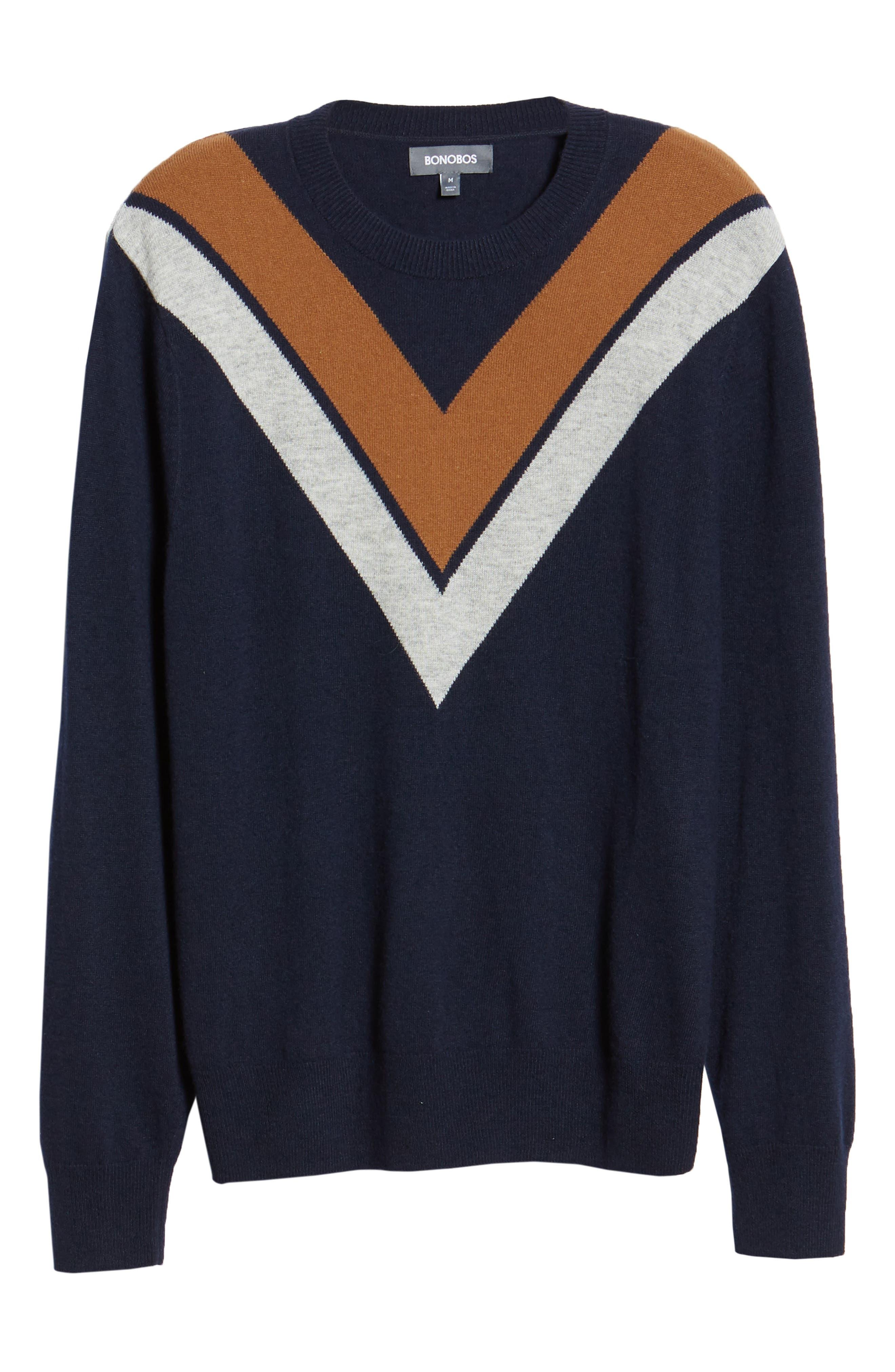 Minton V Crewneck Sweater,                             Alternate thumbnail 6, color,                             DARK NAVY/ LHN/ BURNT SUGAR