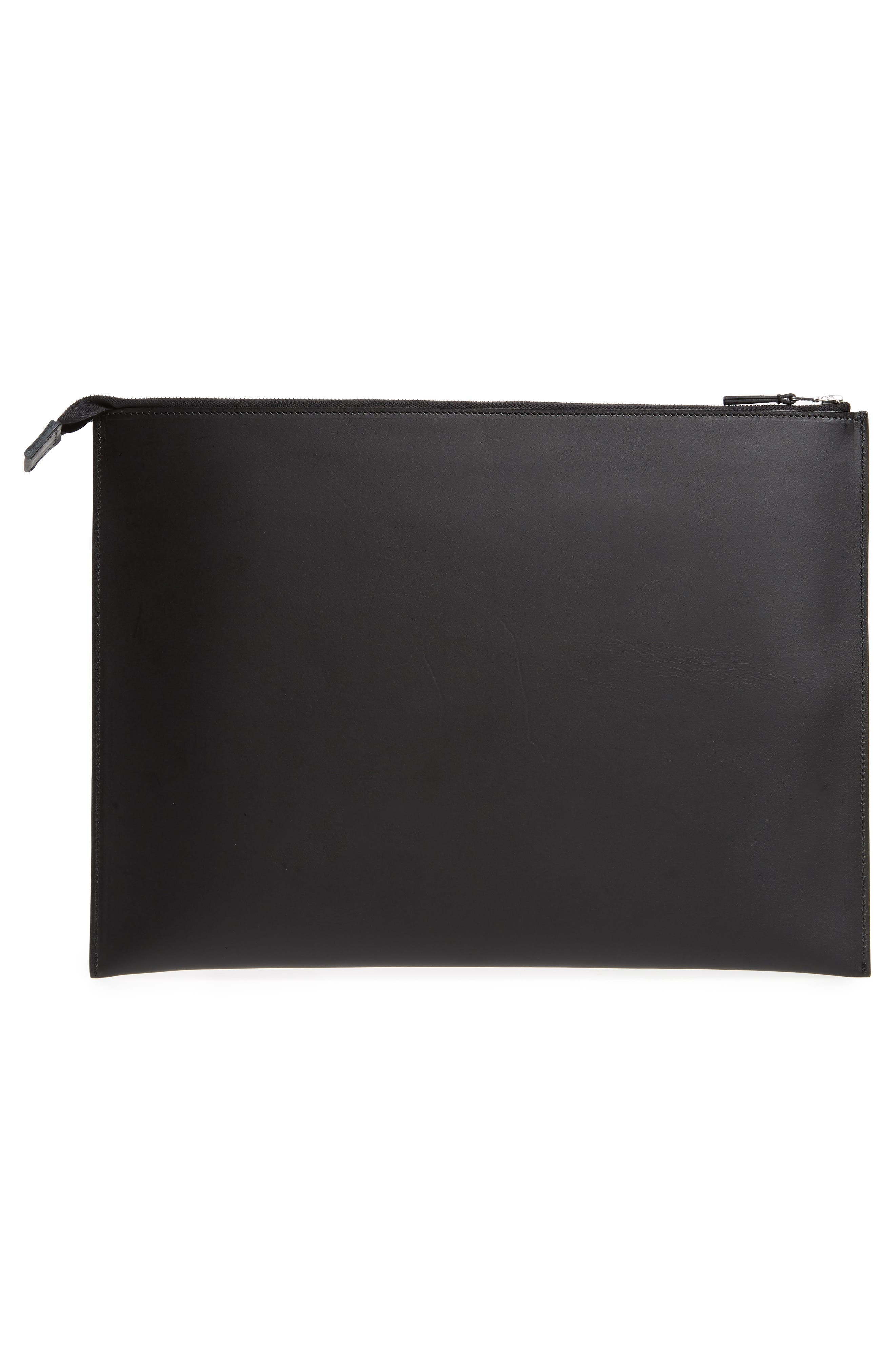 Kirk Large Leather Zip Pouch,                             Alternate thumbnail 2, color,                             BLACK