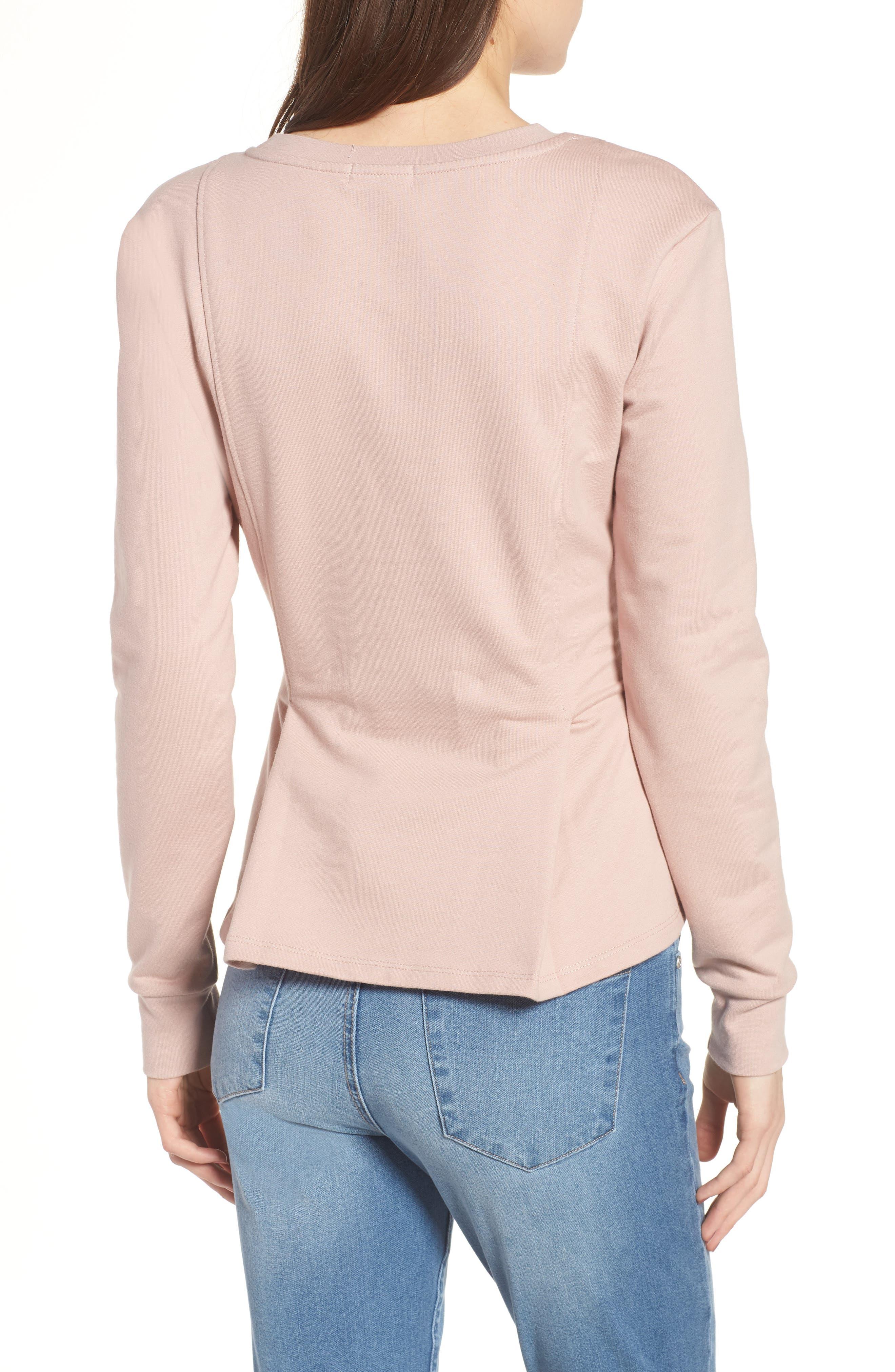 Pleated Sweatshirt,                             Alternate thumbnail 4, color,