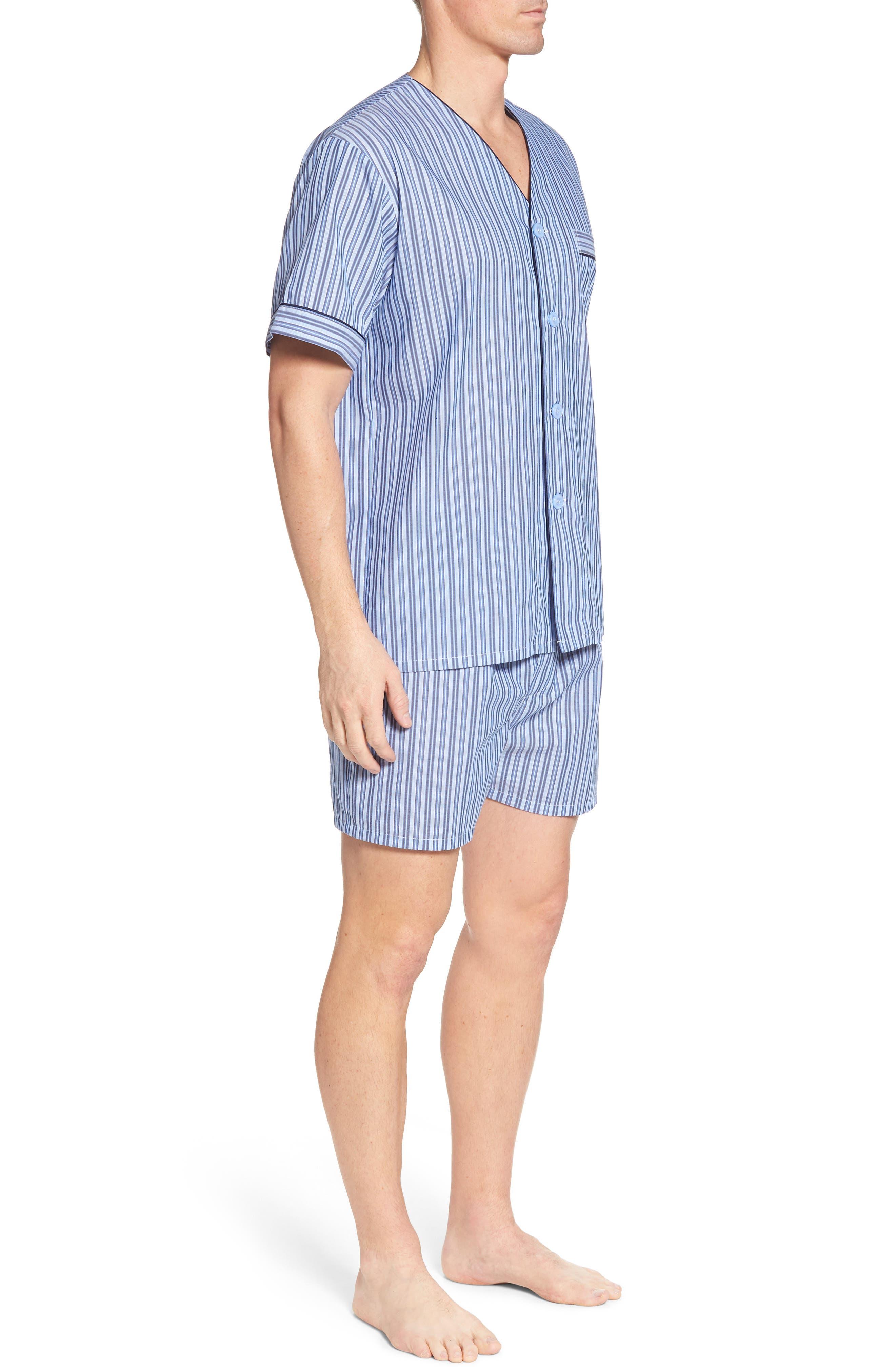 Carefree Shorty Pajama Set,                             Alternate thumbnail 3, color,                             BLUE STRIPE