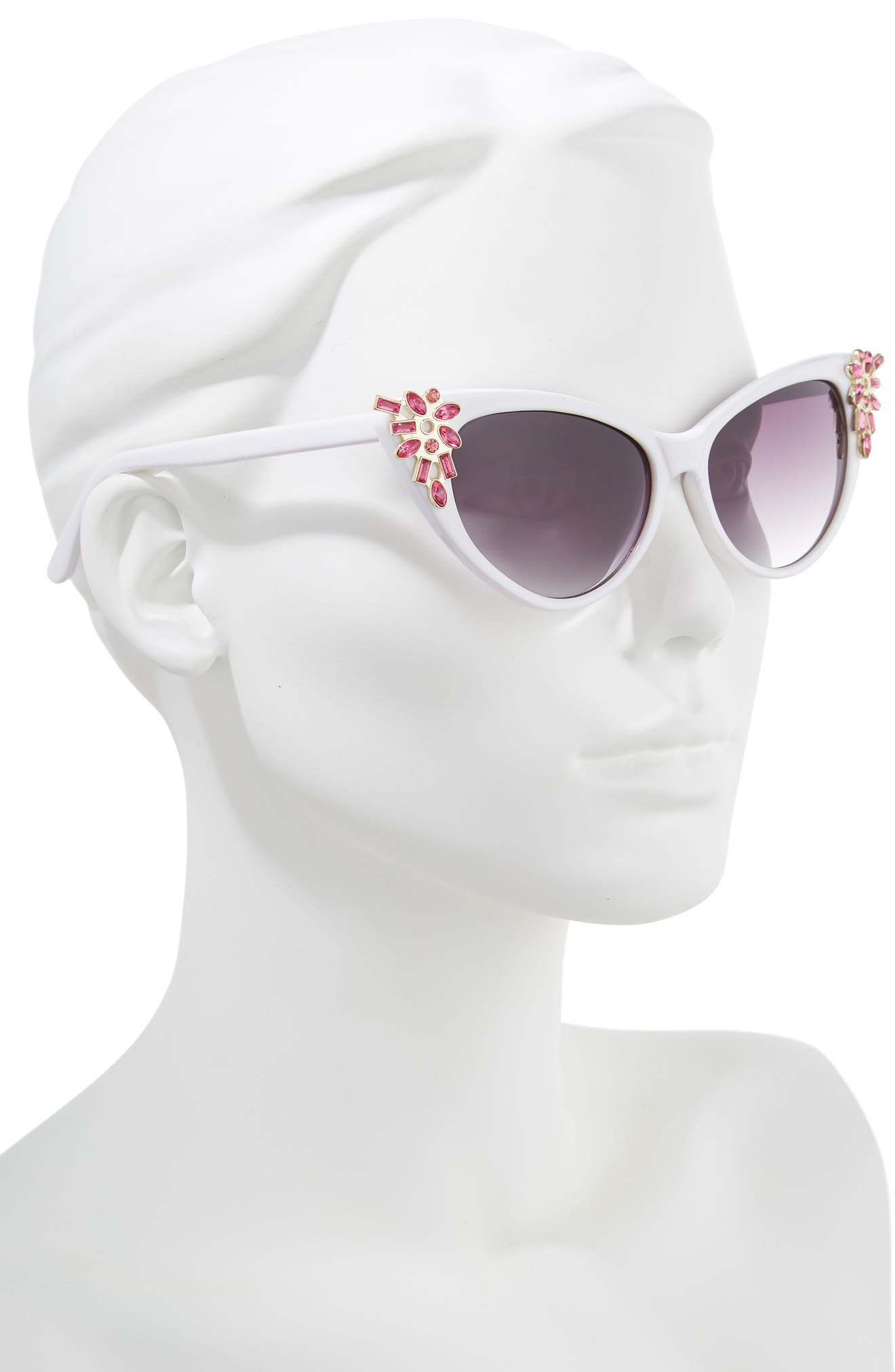 54mm Crystal Exaggerated Cat Eye Sunglasses,                             Alternate thumbnail 2, color,                             WHITE/ PINK