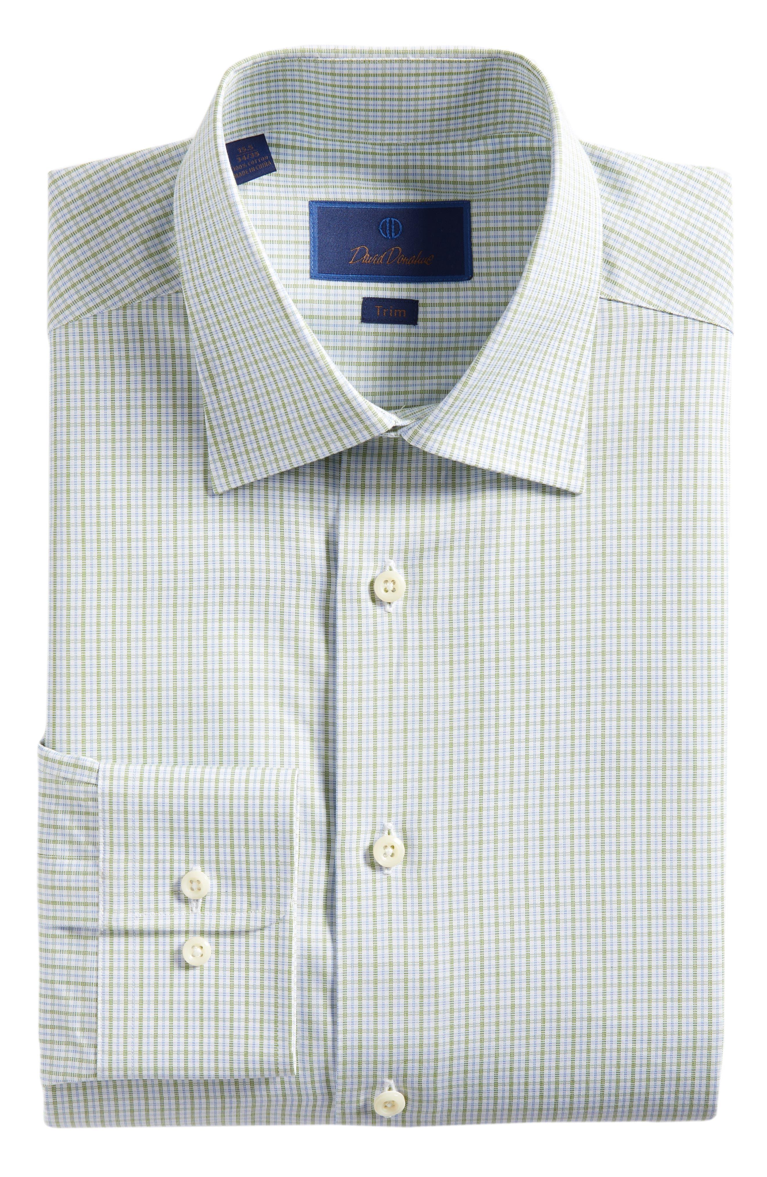 Trim Fit Check Dress Shirt,                             Alternate thumbnail 5, color,                             310