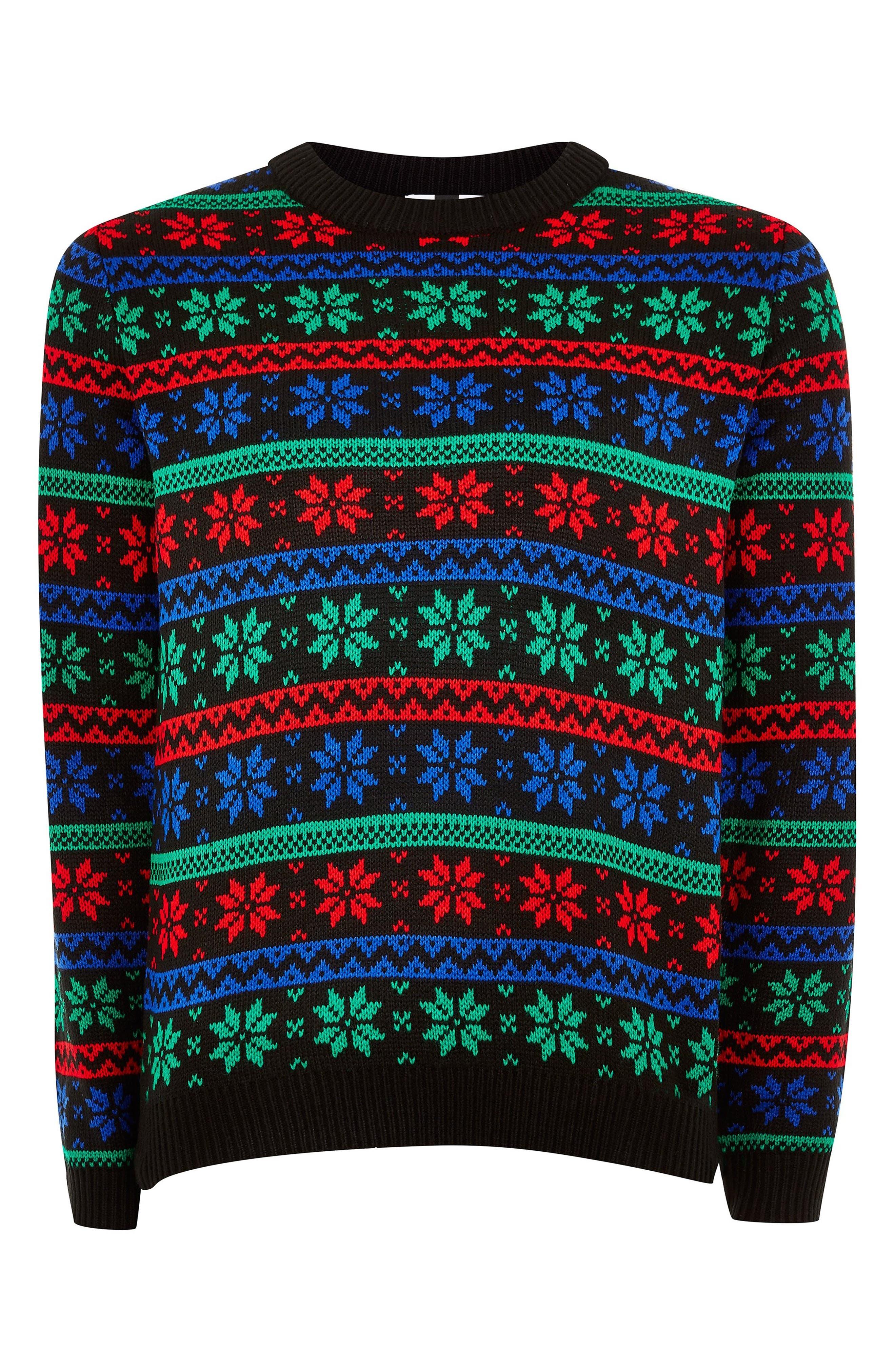 Snowflake Sweater,                             Alternate thumbnail 4, color,                             BLACK MULTI