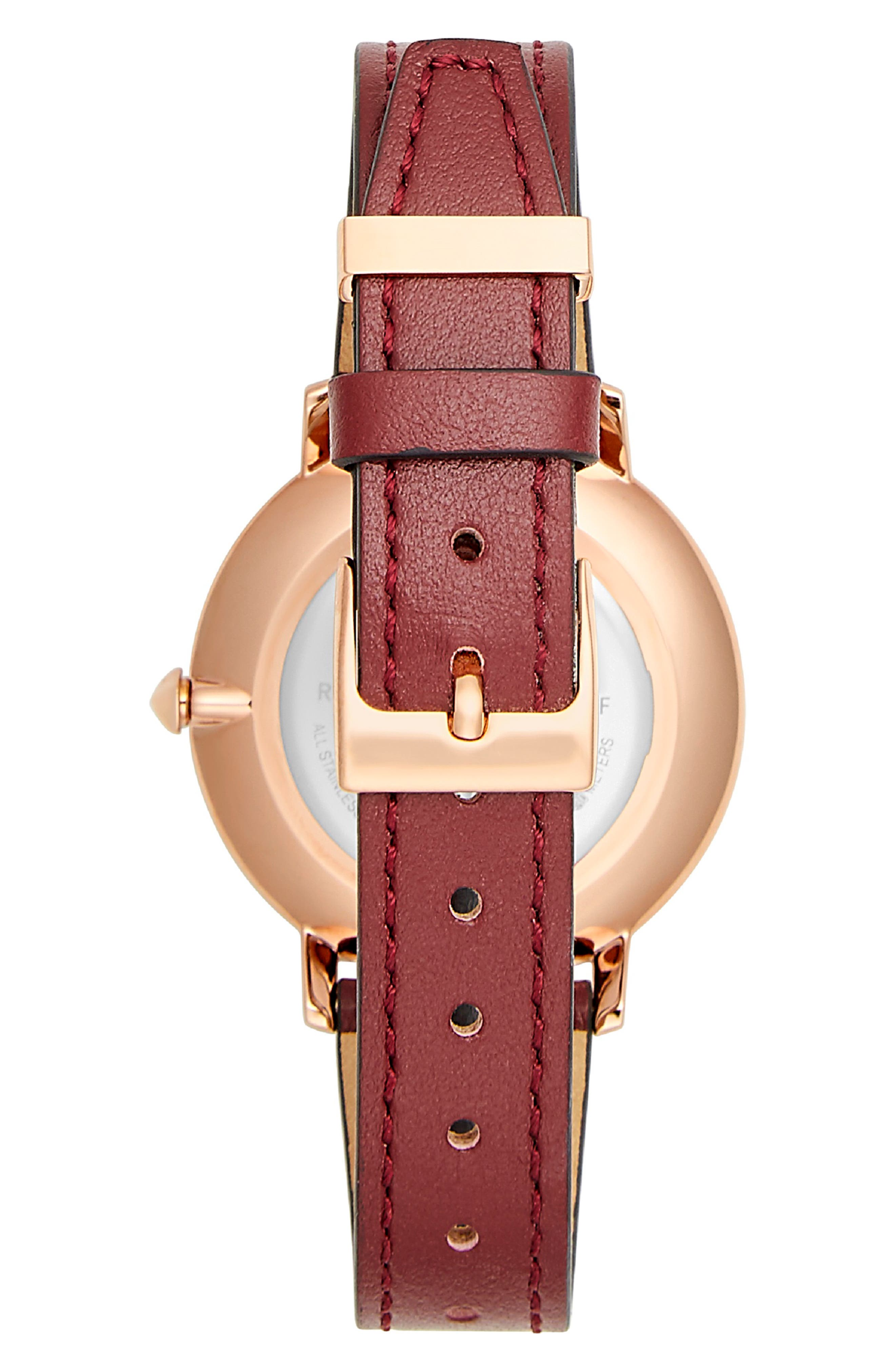 Major Leather Strap Watch, 35mm,                             Alternate thumbnail 2, color,                             BURGUNDY/ SILVER/ ROSE GOLD
