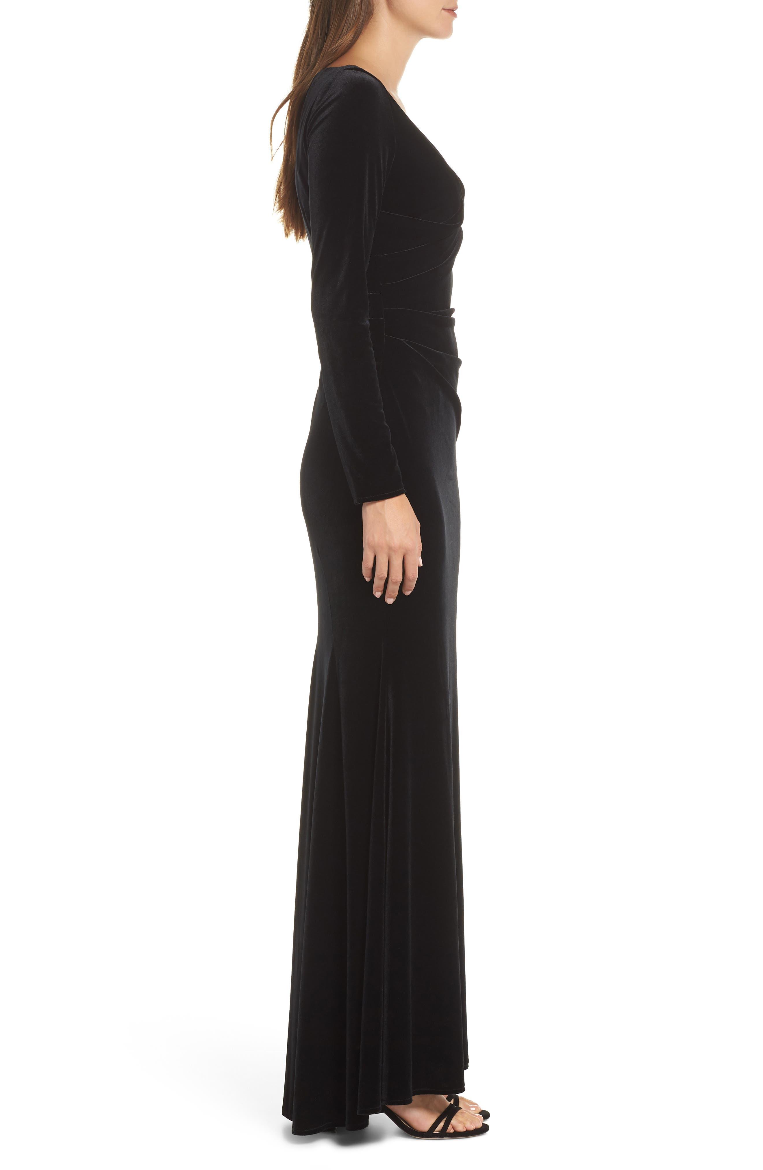 Velvet Gown,                             Alternate thumbnail 3, color,                             BLACK