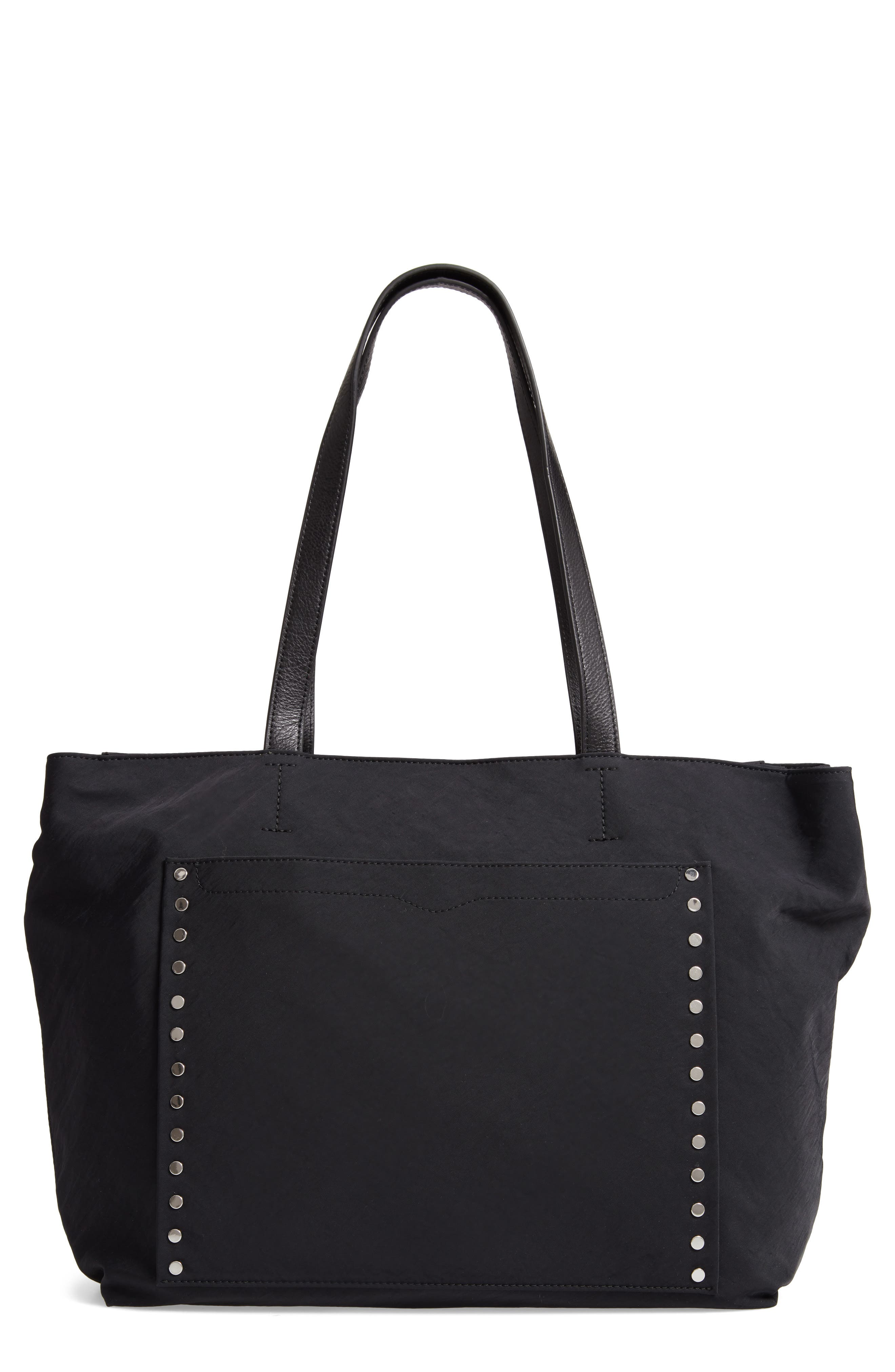 Logan Studded Nylon Baby Tote,                             Main thumbnail 1, color,                             BLACK